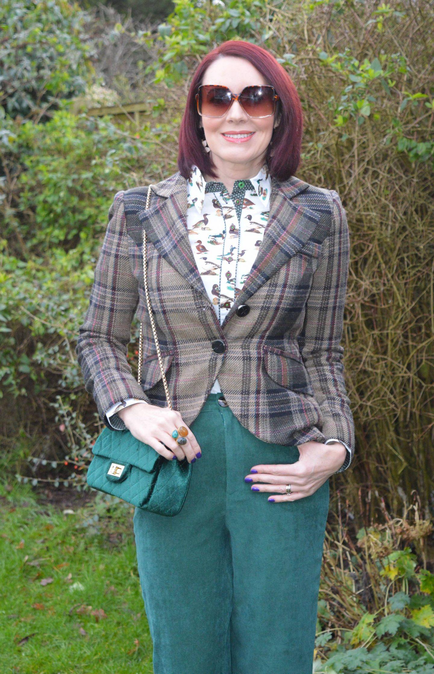 Salamander Shirts Duck Print Cotton Shirt, Coast baby cord forest green trousers, Mango tweed jacket, SVNX brown square sunglasses