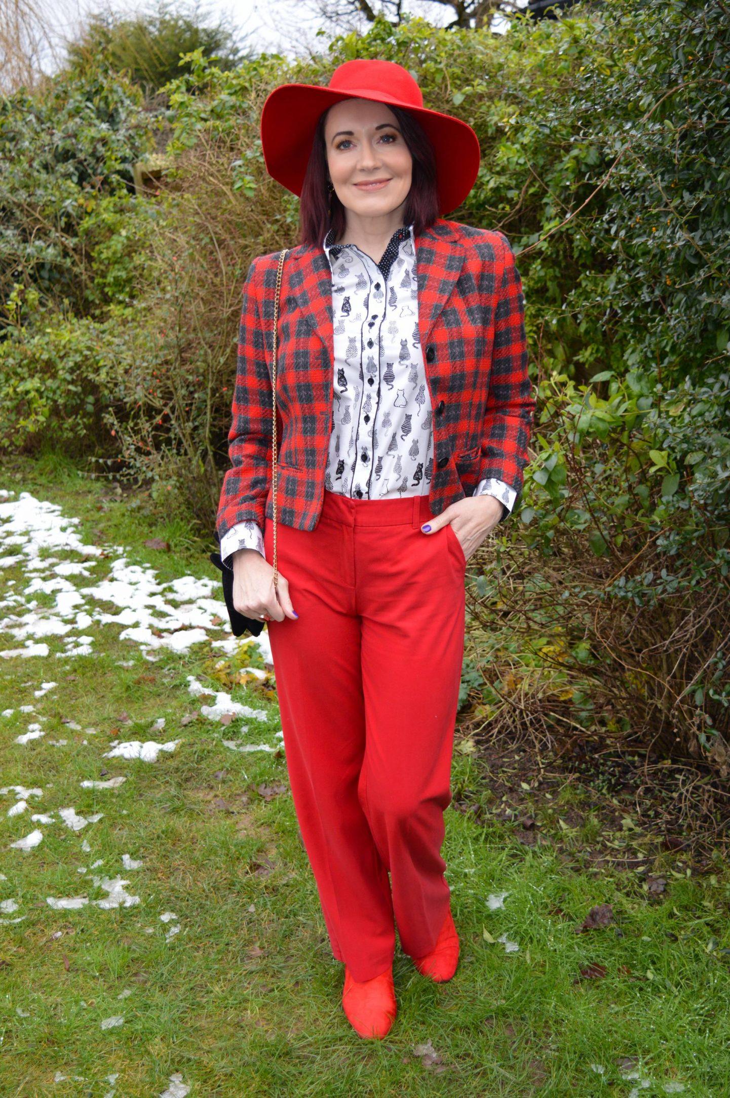 tartan jacket, Oasis red trousers, Zara red wide brim hat
