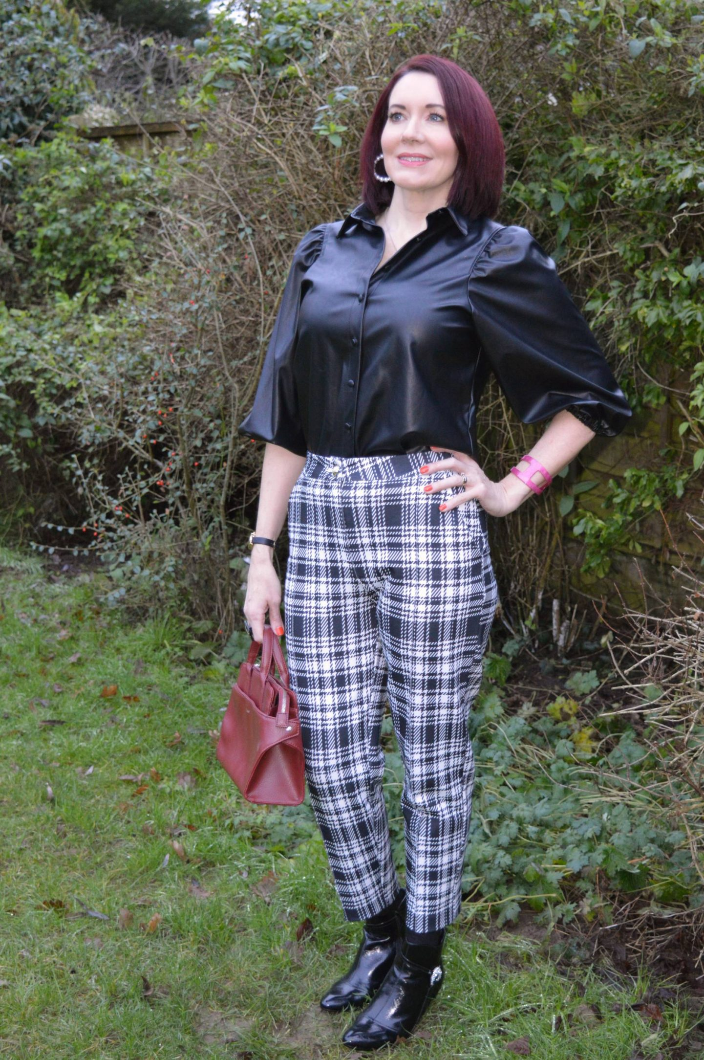 Styling Leather and Pleather - January's Thrifty Six Collaboration, New Look faux leather shirt, Matt and Nat maroon bag, River Island black and white check trousers