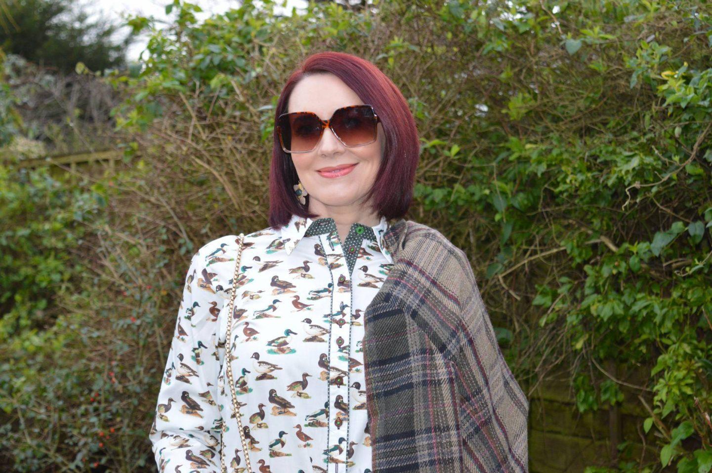 Salamander Shirts Duck Print Shirt, SVNX brown square sunglasses