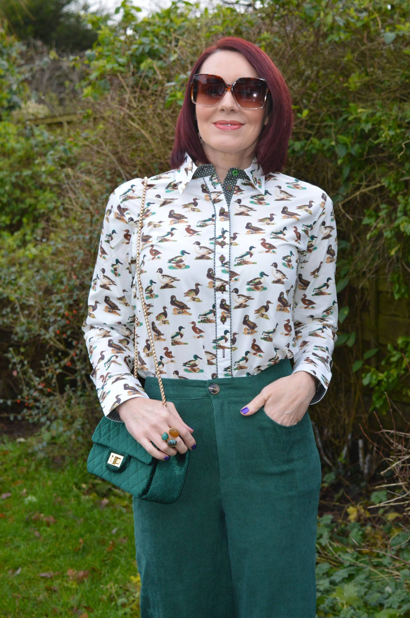 Salamander Shirts Duck Print Cotton Shirt, Coast baby cord forest green trousers, SVNX brown square sunglasses