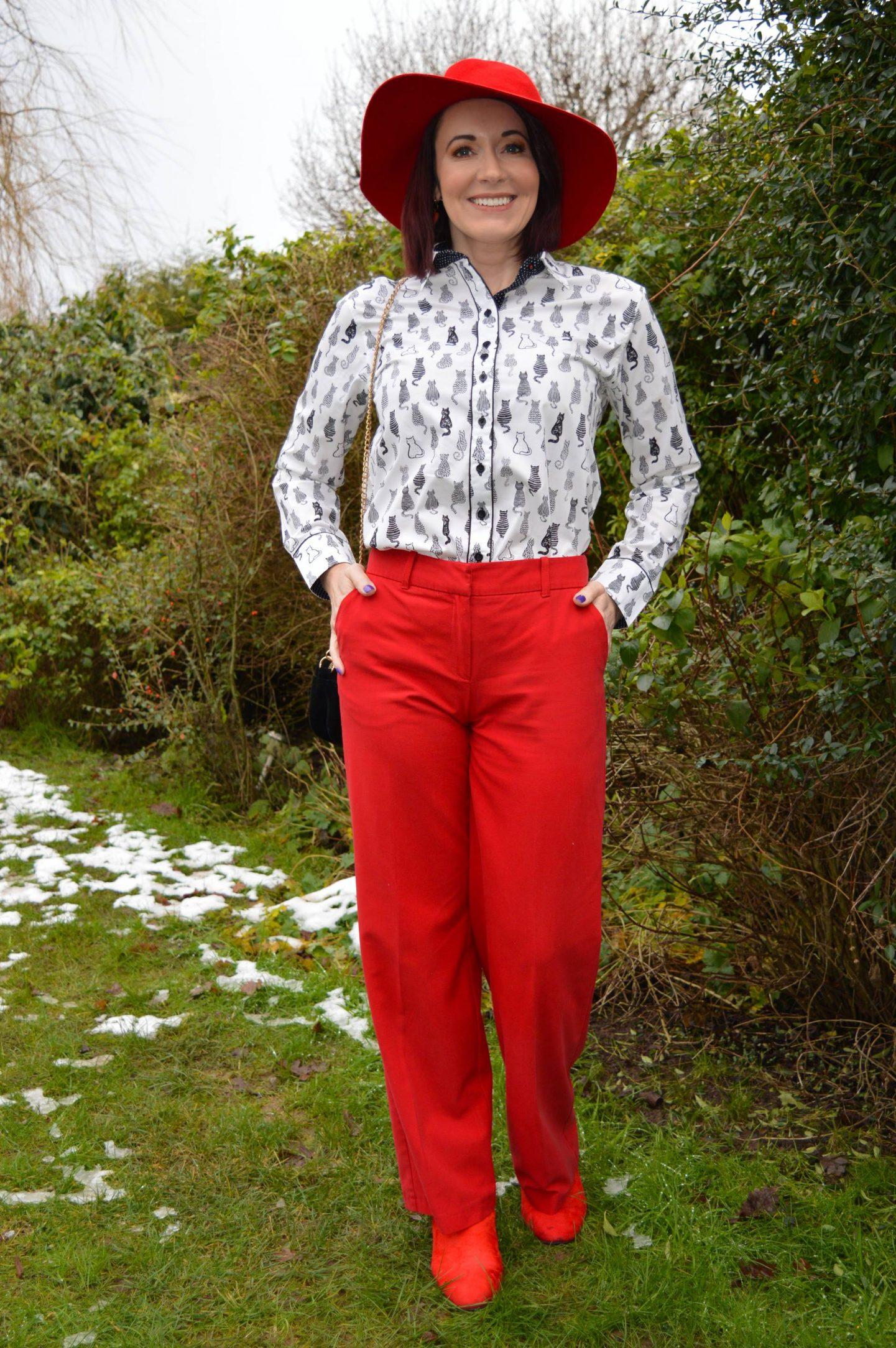 Salamander Shirts cat print shirt, Oasis red trousers, Zara red wide brim hat
