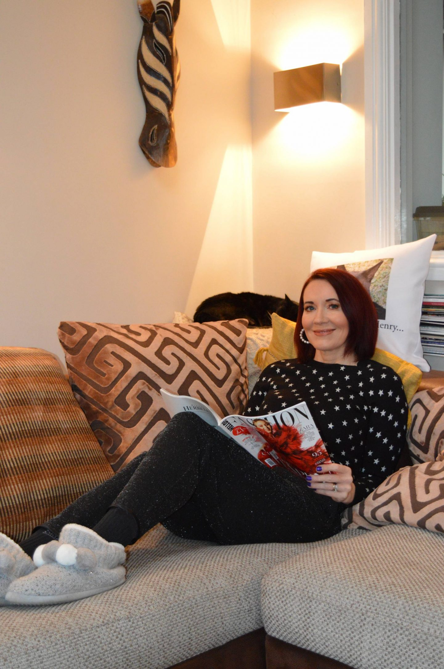 Lounging at Home, George at Asda black sparkly joggers, Marks & Spencer star print jumper