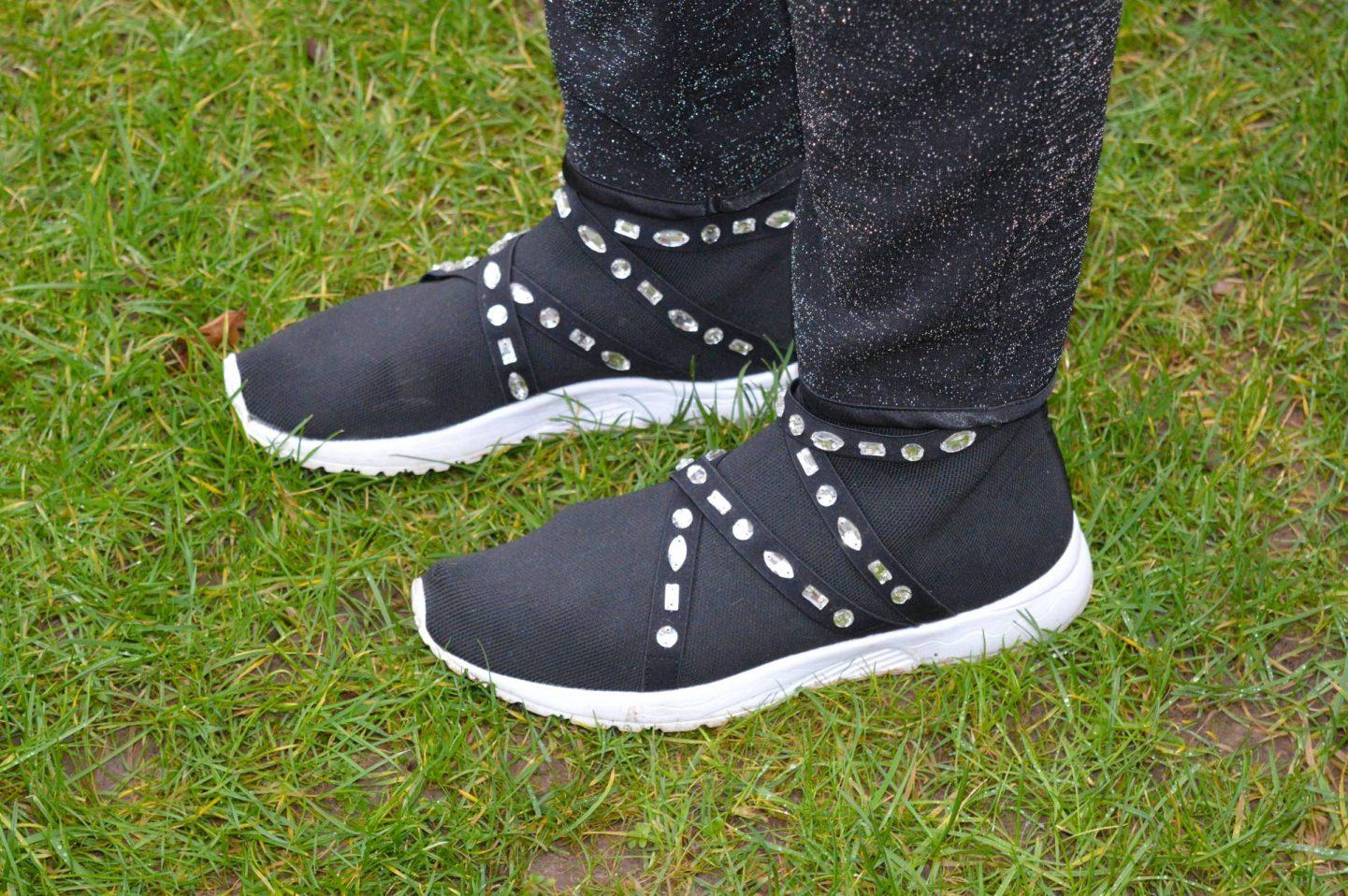 Asos black embellished sock trainers