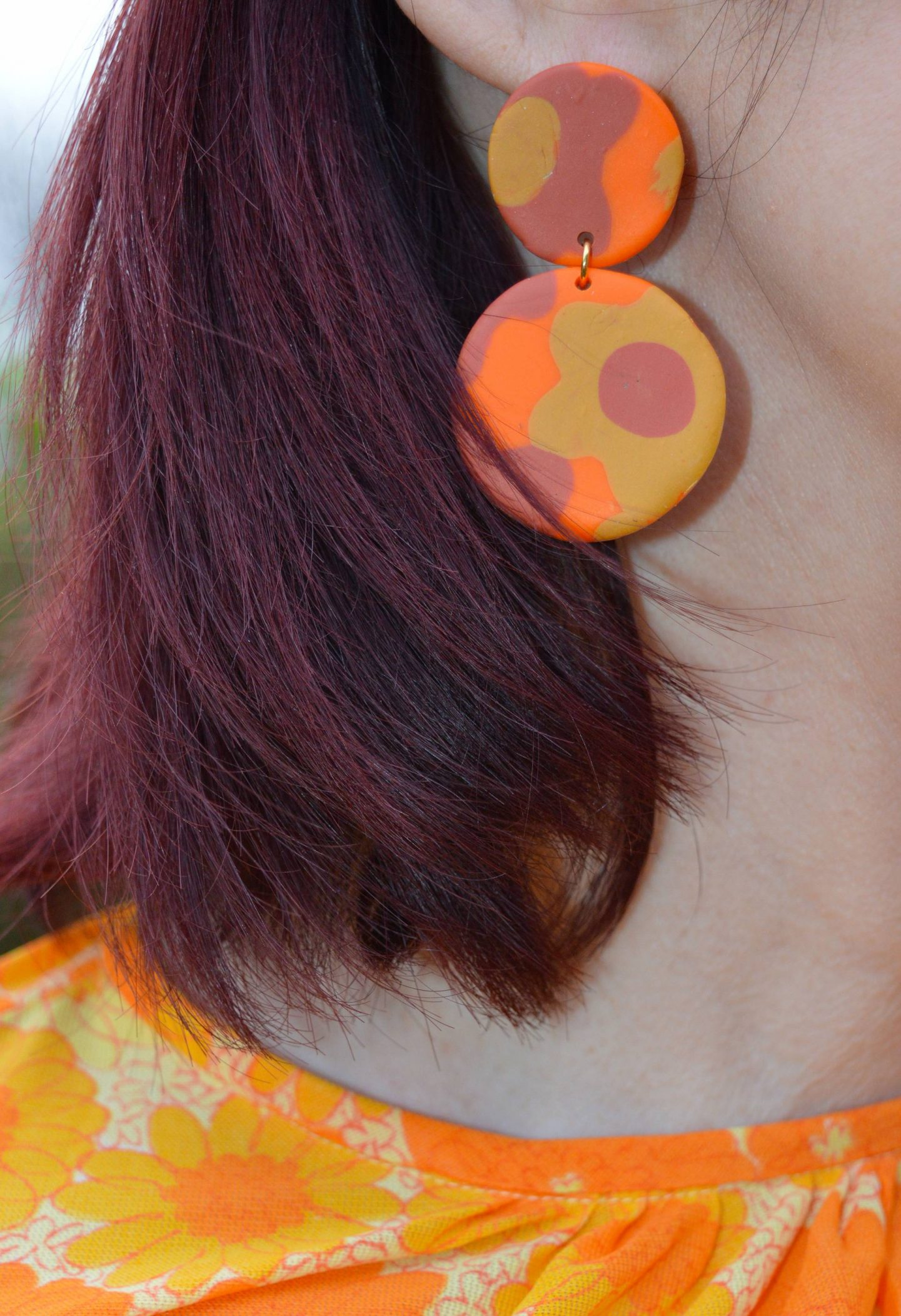 polymer clay orange disc earrings