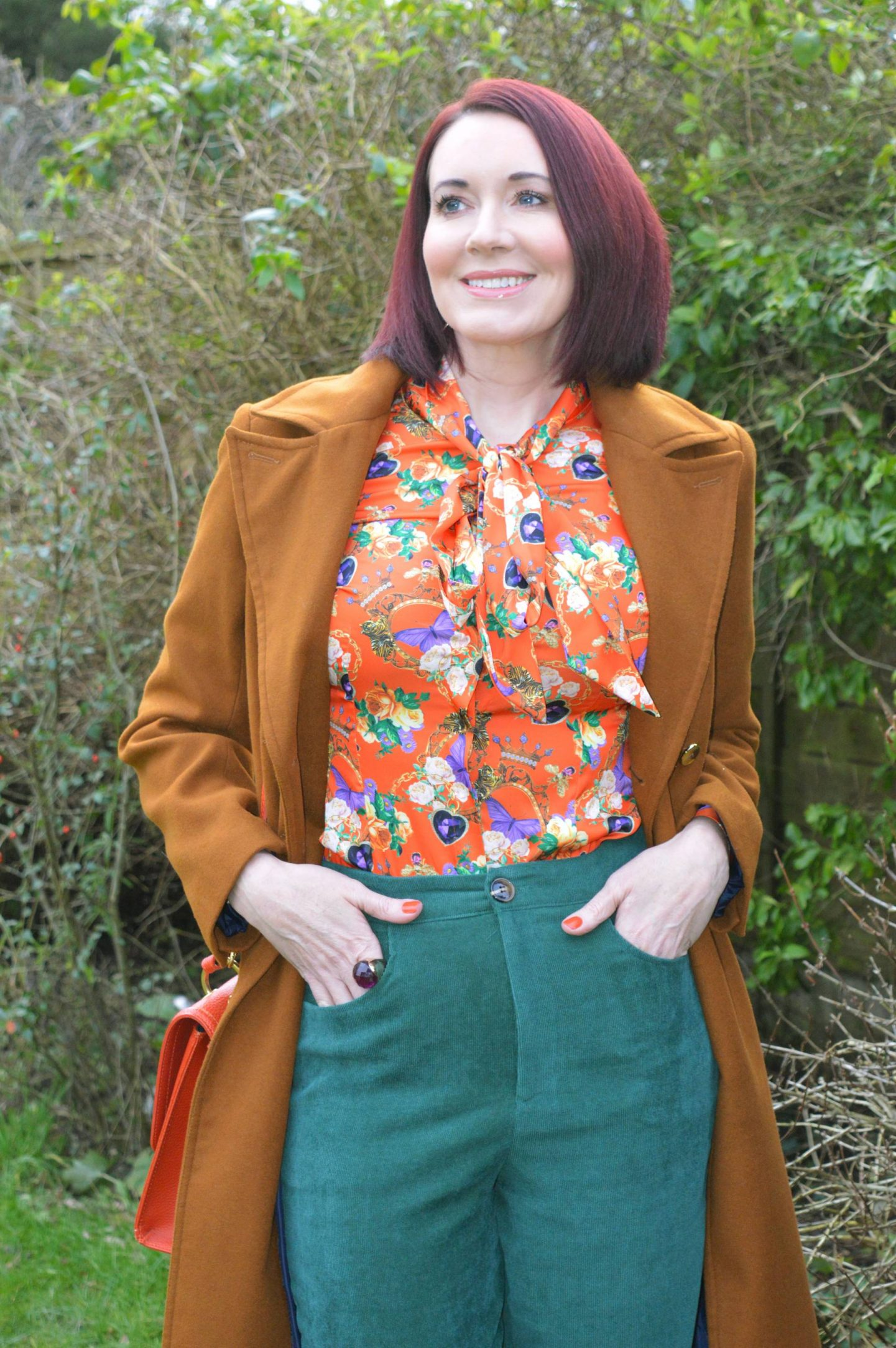 Hawes & Curtis Orange Pussy Bow Blouse and Green Cords, Oasis tan coat