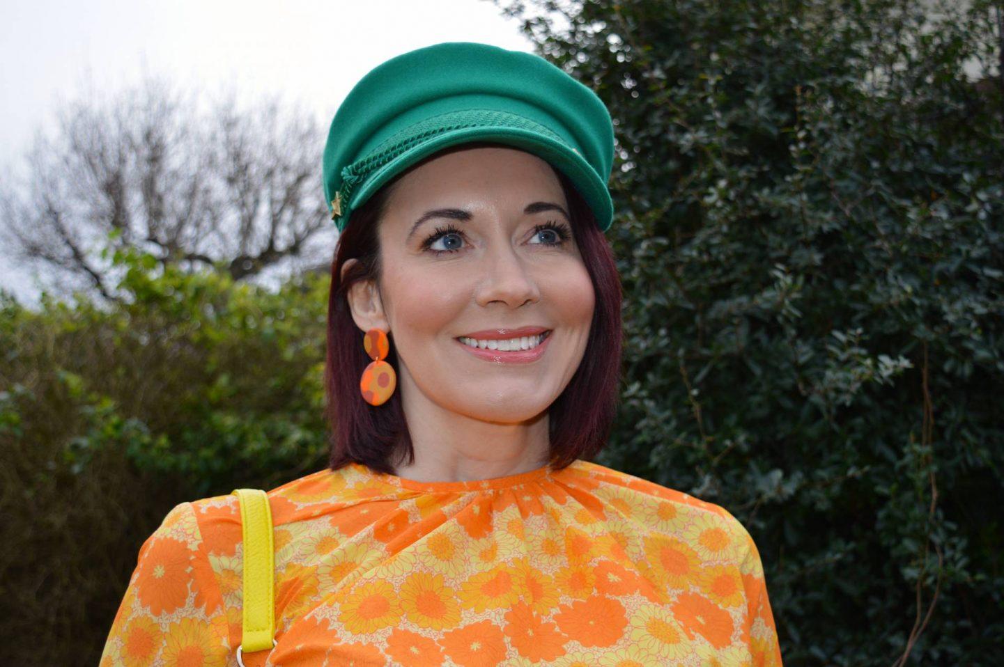 Vintage Orange Floral Print Top, green Fabienne Chapot cap