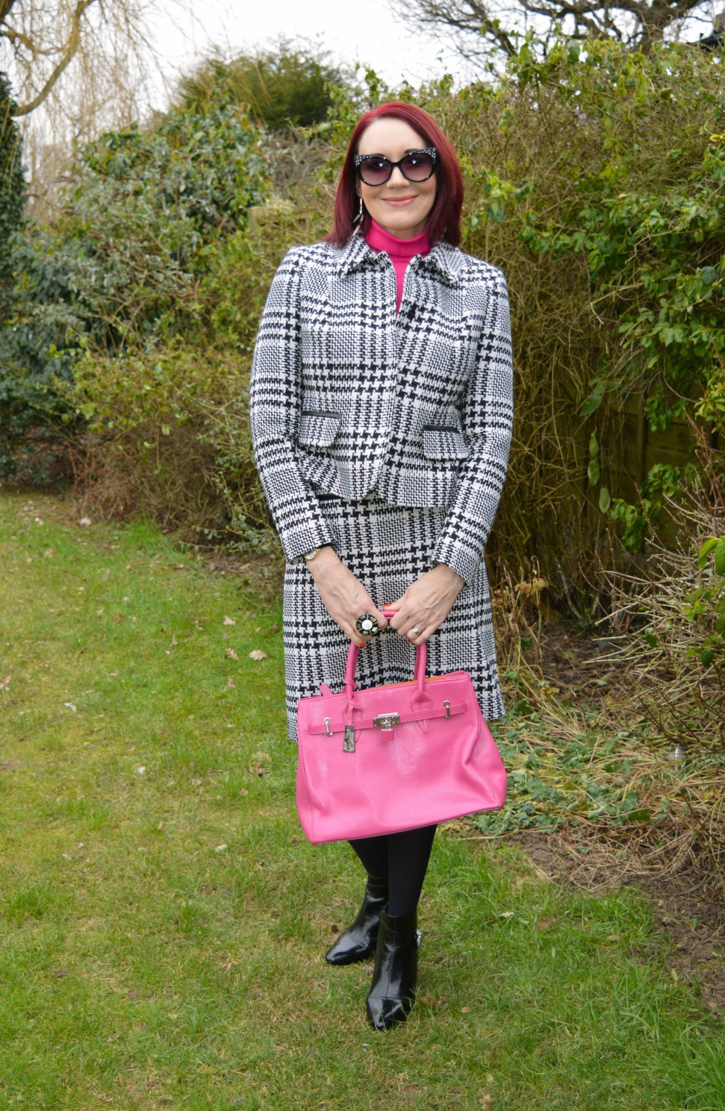 Styling Our Pre-loved Suits, Marks & Spencer check skirt suit