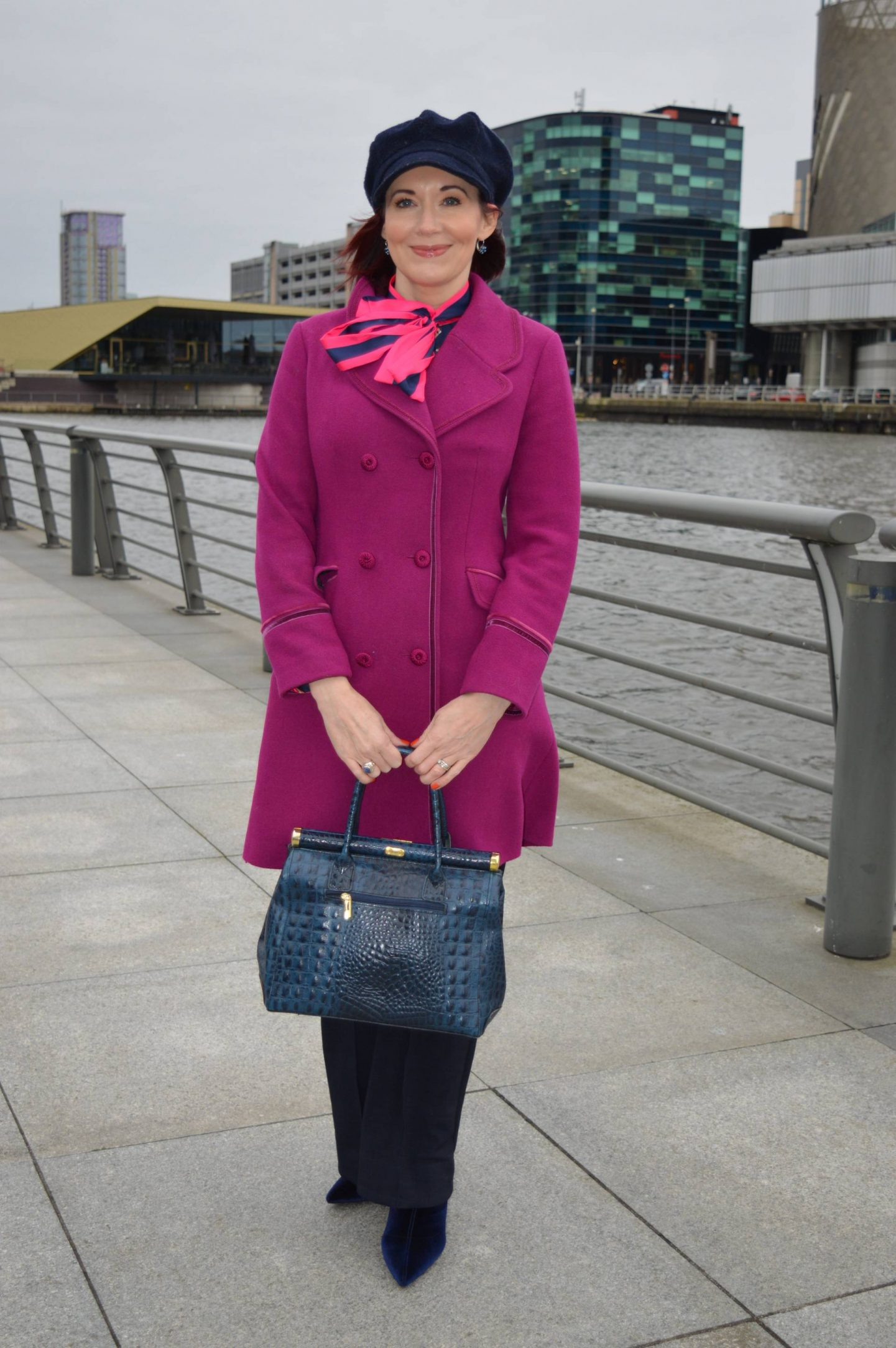 Navy and Bright Pink. pink Per Una coat, Hawes & Curtis navy and pink pussy bow blouse