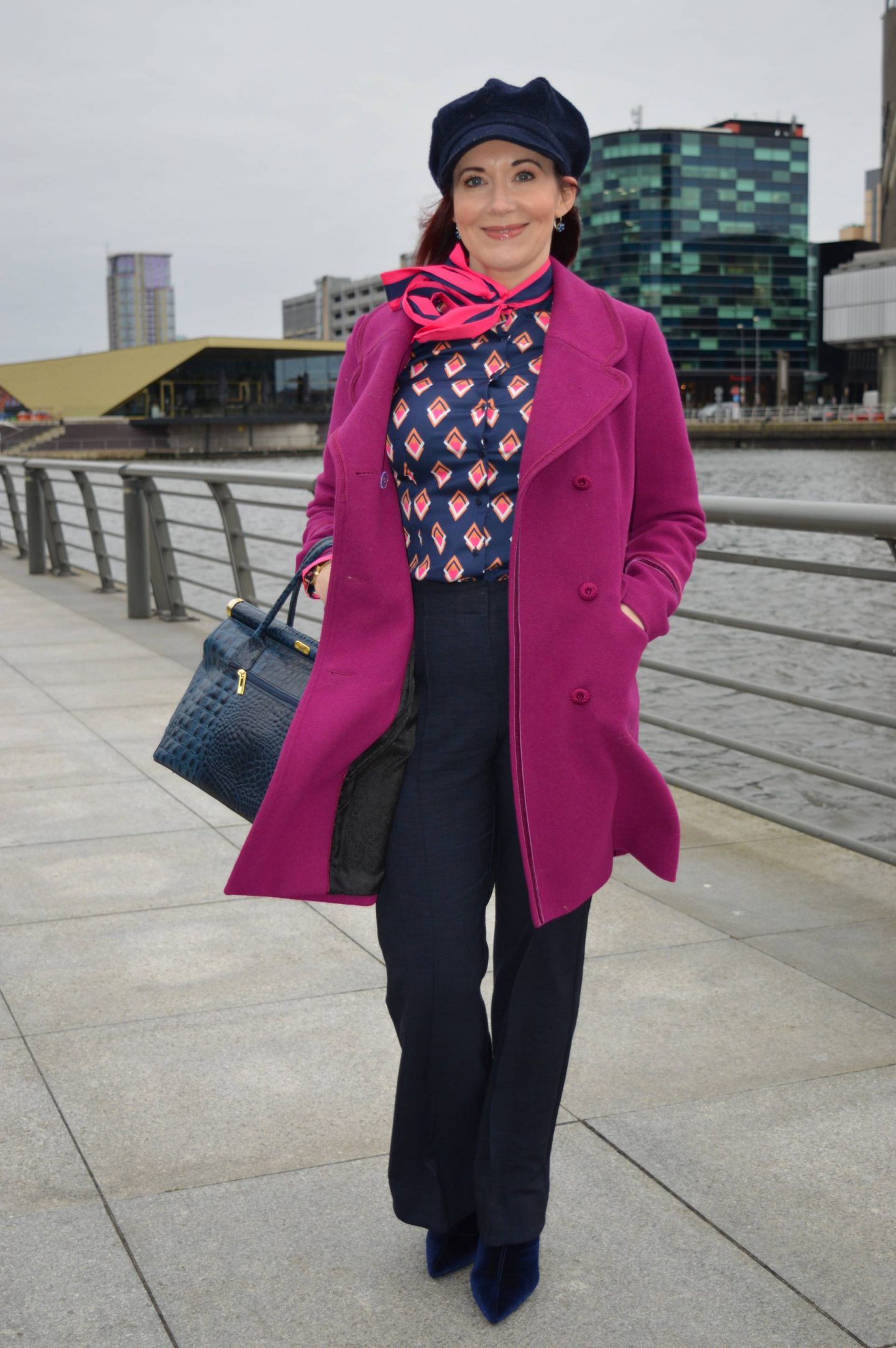 pink Per Una coat, Hawes & Curtis navy print pussy bow blouse