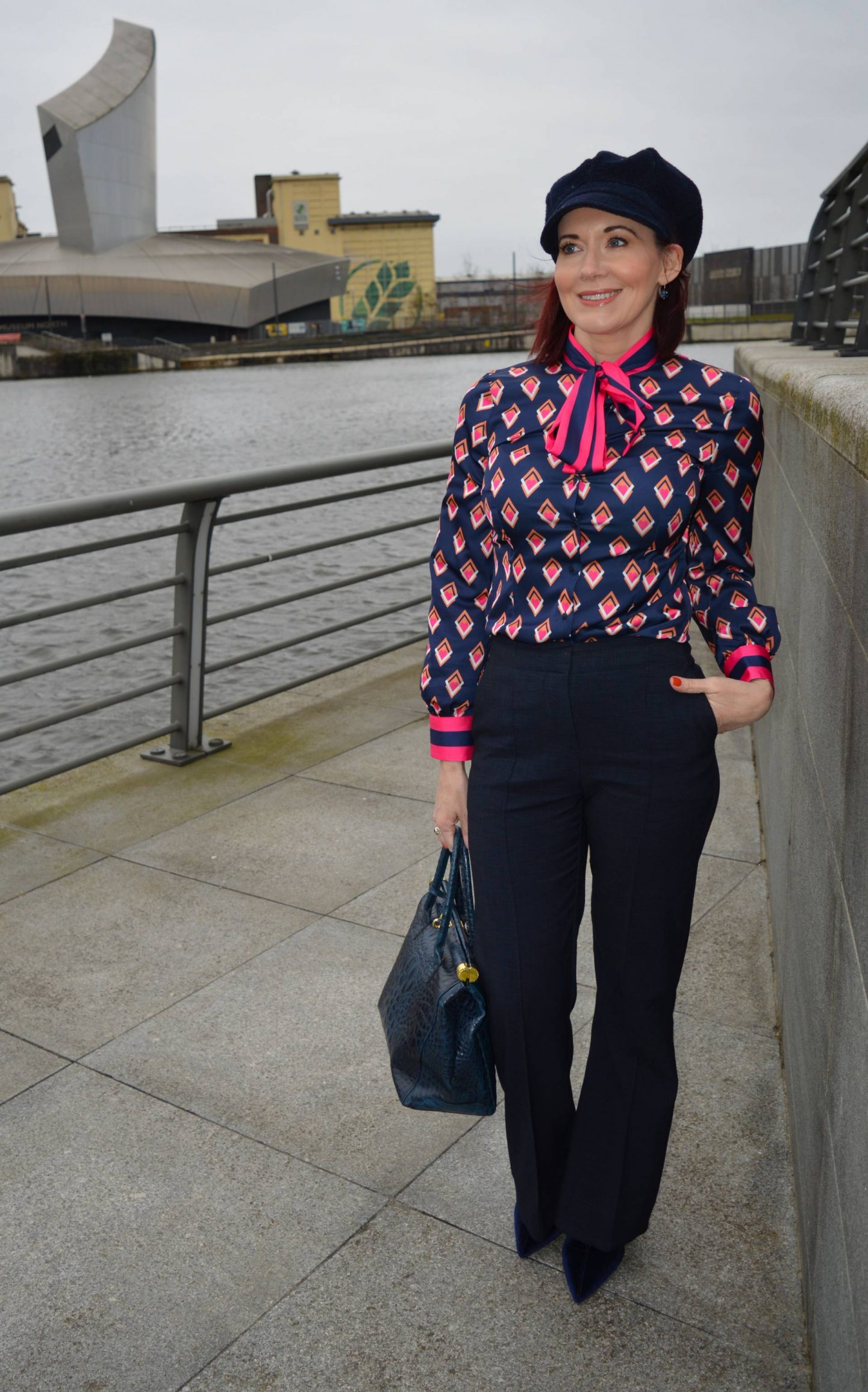 Hawes & Curtis navy and pink pussy bow blouse