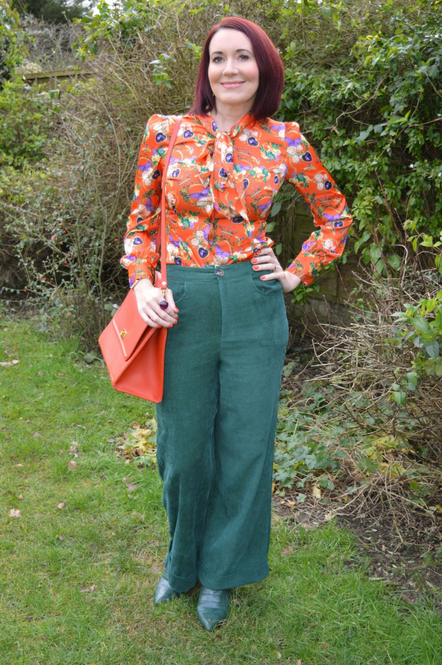 Hawes & Curtis Orange Pussy Bow Blouse and Green Cords,