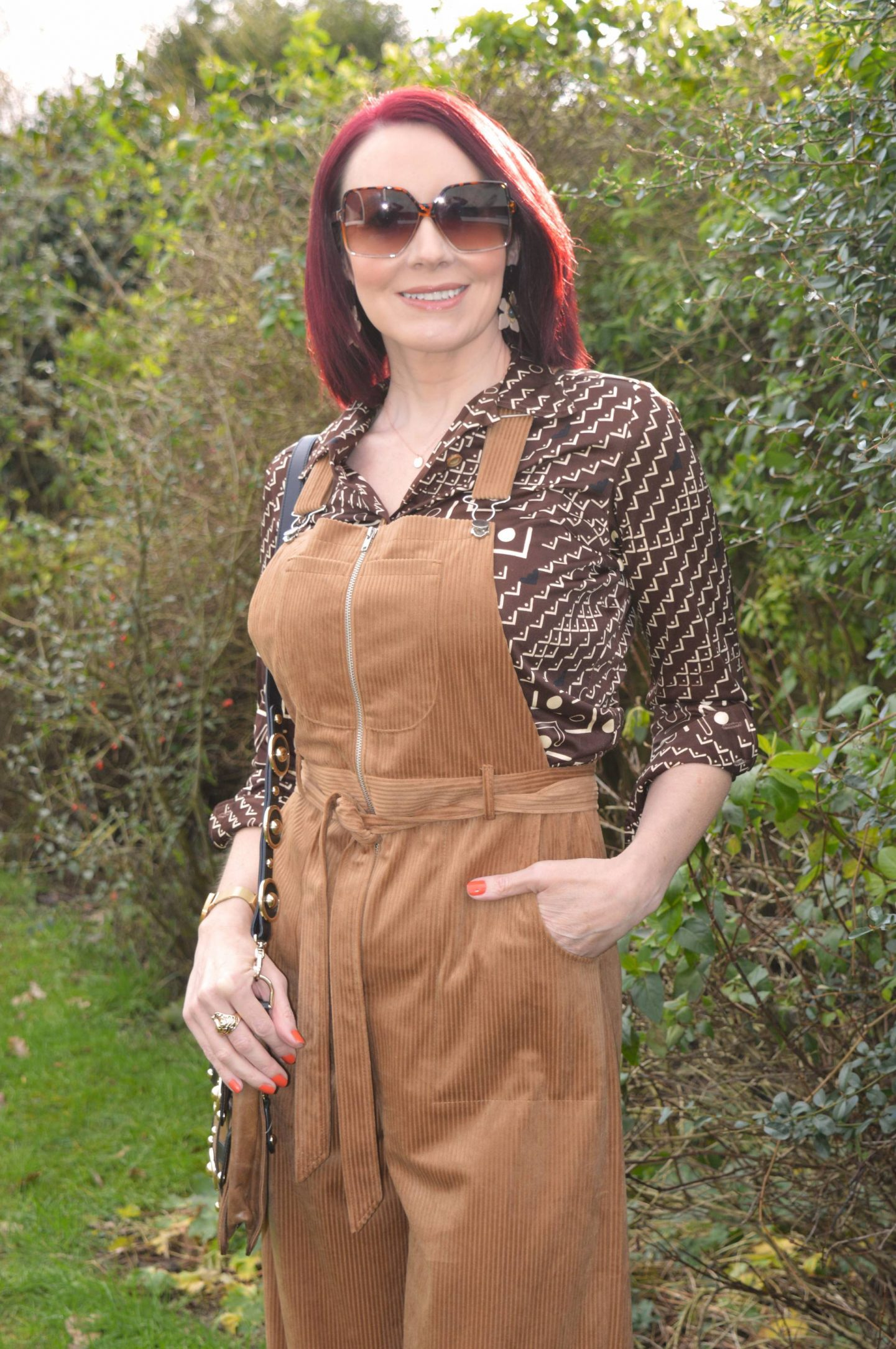 Asos Tan Cord Dungarees and Vintage Shirt