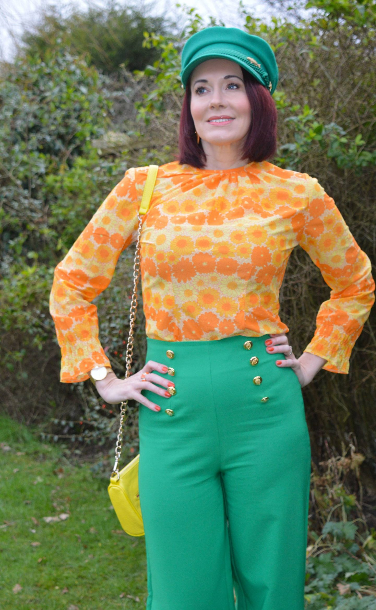 Vintage Orange Floral Print Top and Green Trousers, Flounce London wide leg button detail tailored trousers in green, green Fabienne Chapot cap