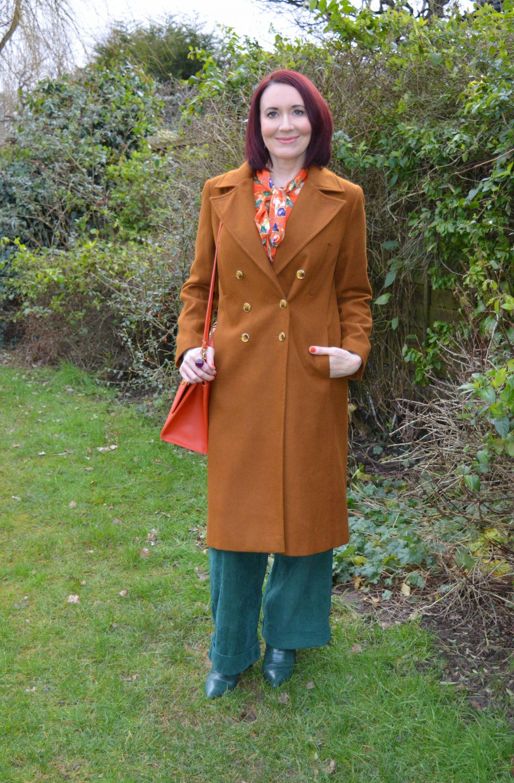 Hawes & Curtis Orange print Bow Blouse, Coast Green Cords, Oasis tan coat