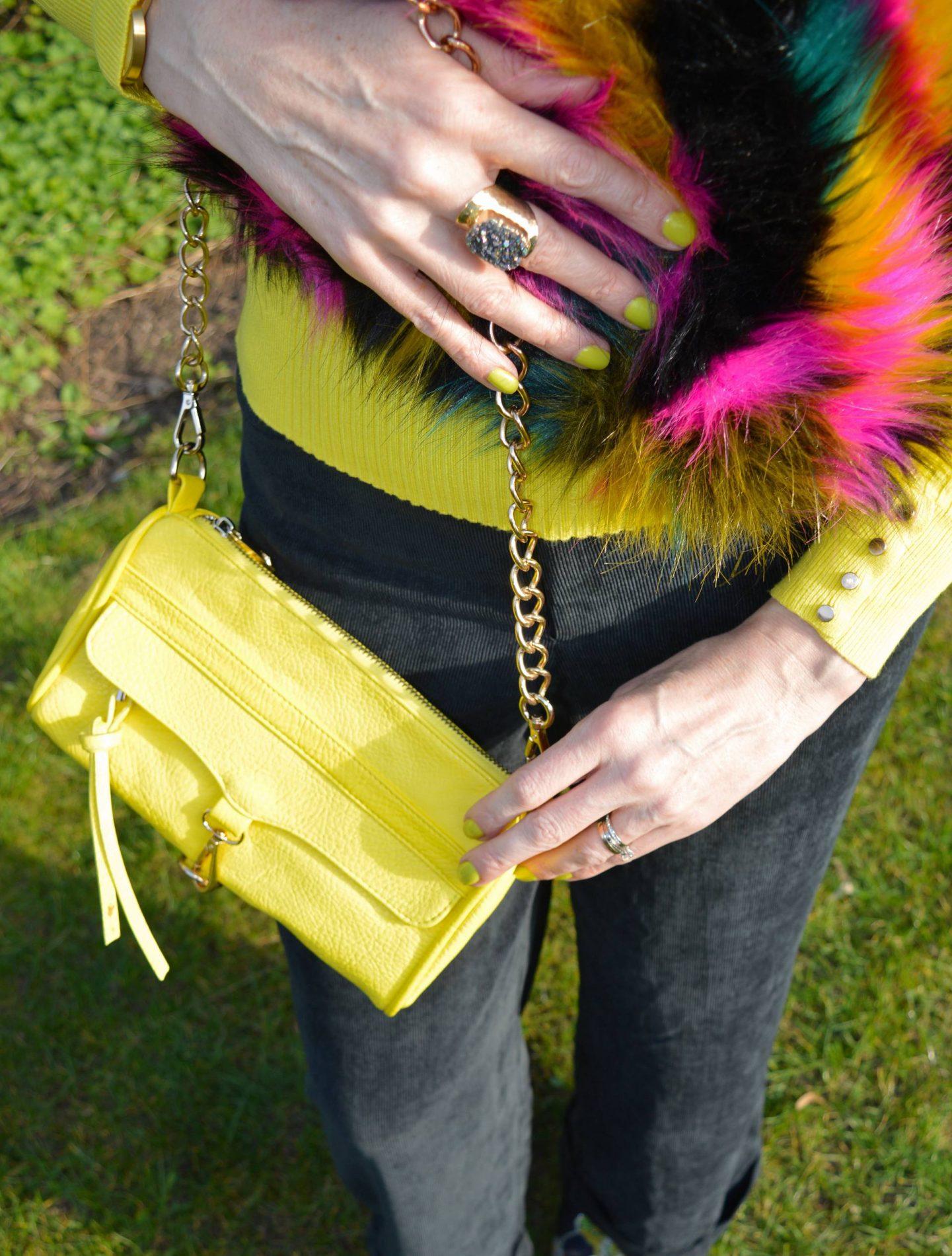Multicoloured Faux Fur Gilet, yellow chain handle bag, Yaa Yaa London druzy ring