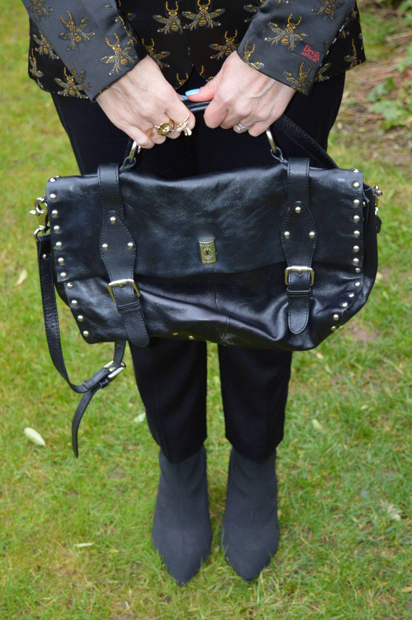 Modalu black studded satchel