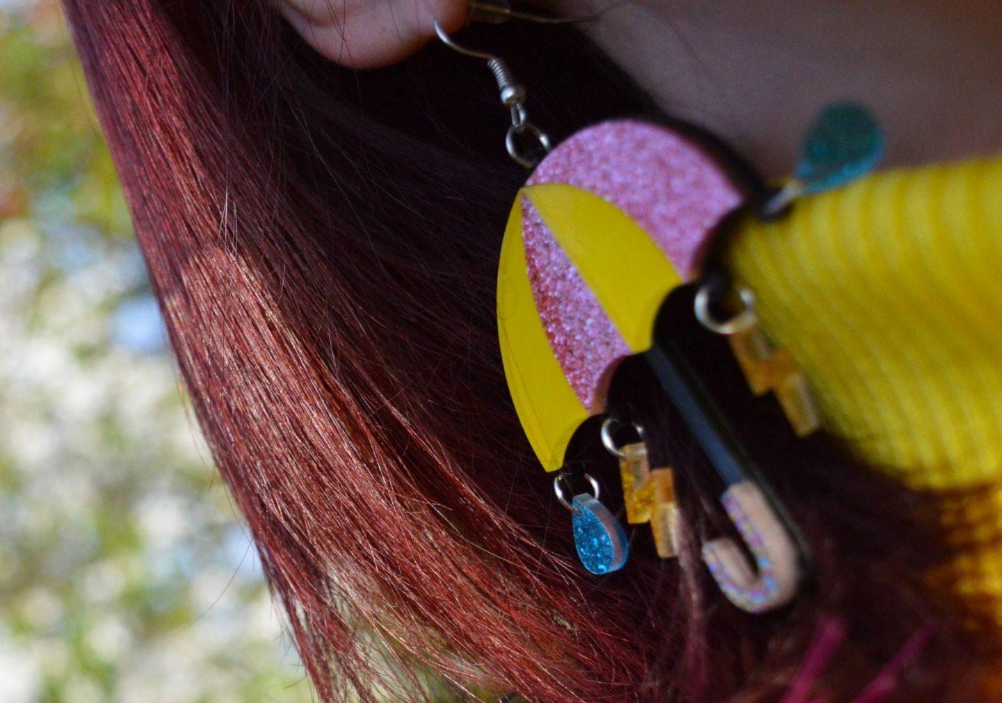 acrylic umbrella earrings