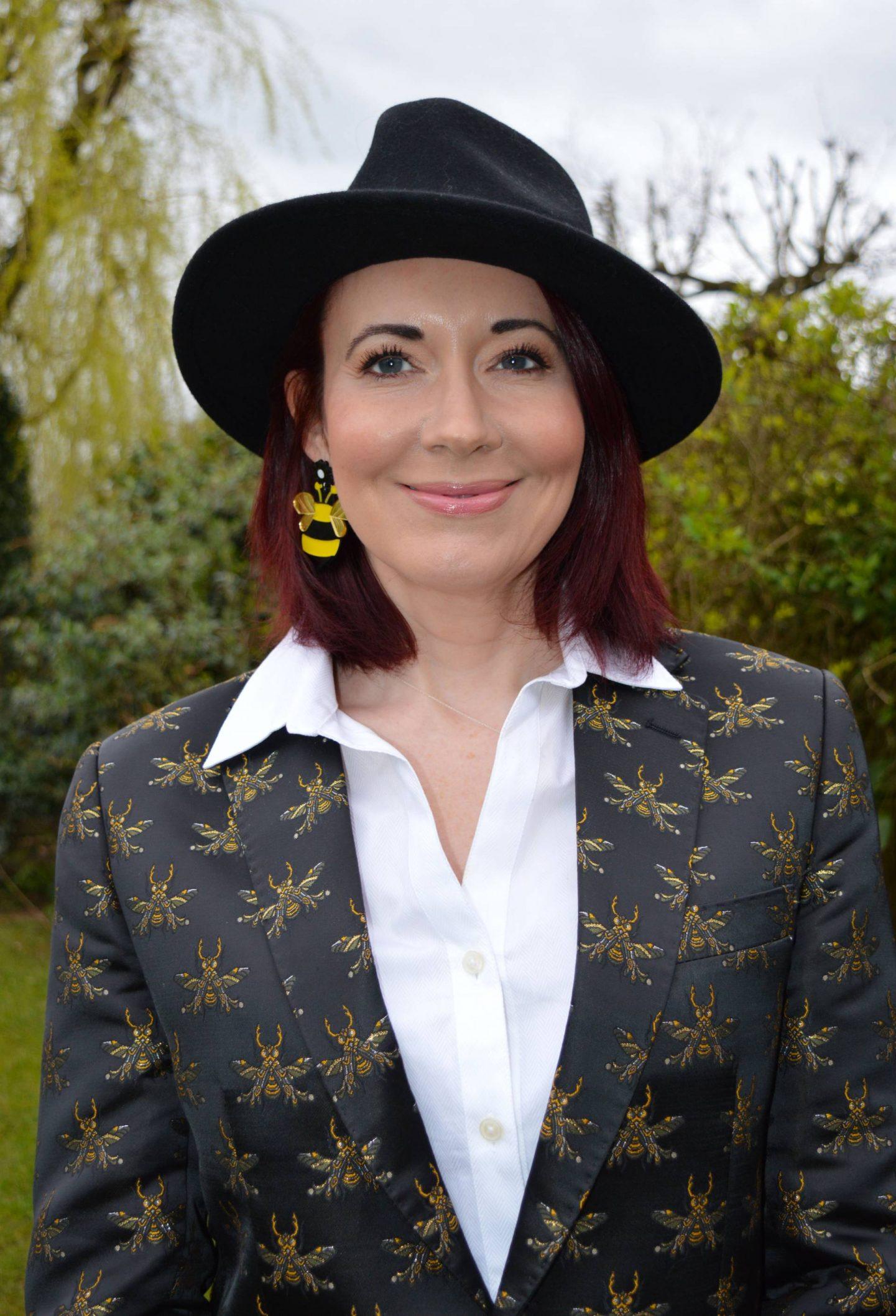 Borrowed From the Boys, Devil's Advocate bee embroidered blazer, Tibi tuxedo trousers, Zara black fedora, Modalu black studded satchel