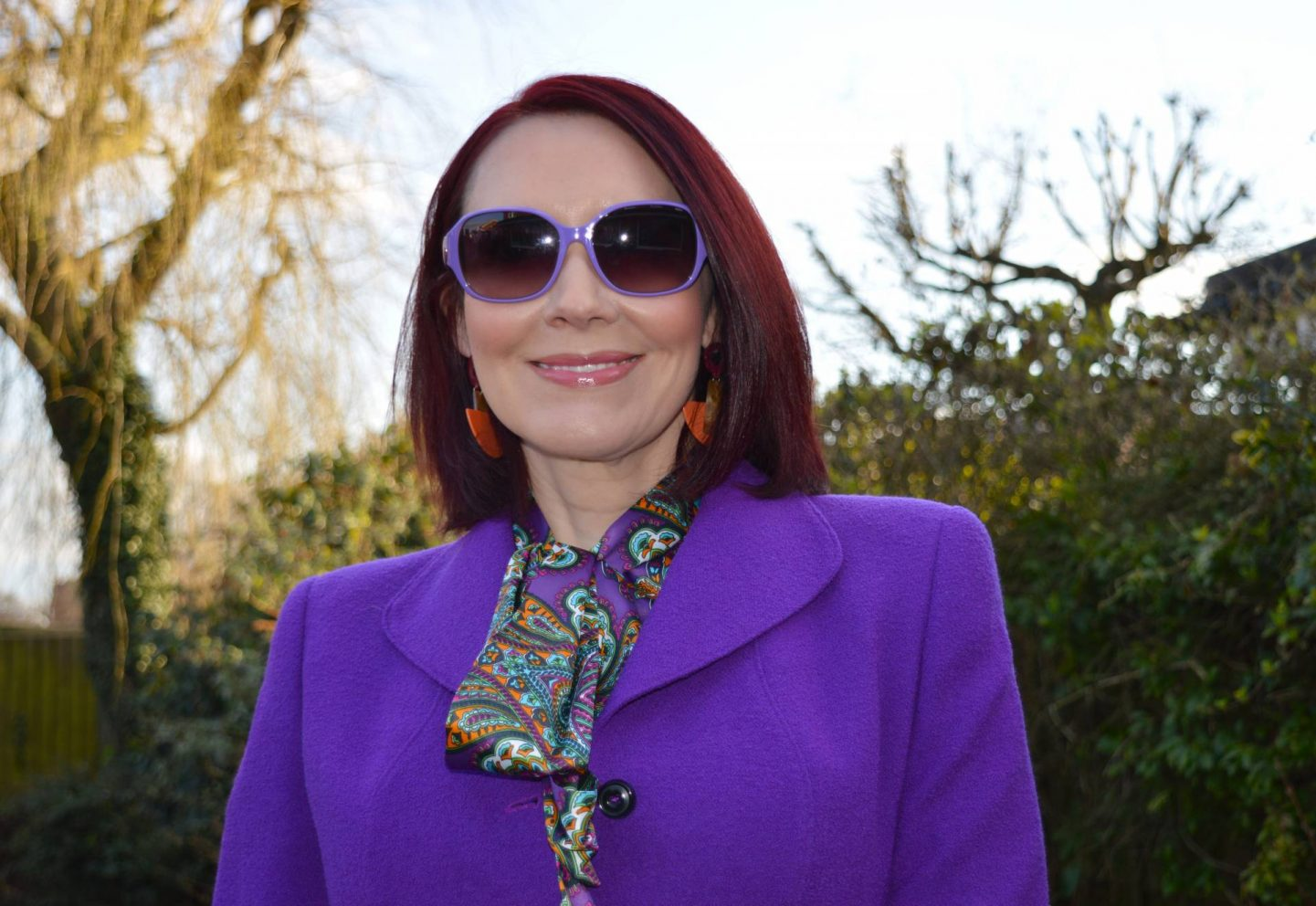 """We Are Trail """"Blazers"""" - March Thrifty Six Collaboration, purple Escada jacket, Ted Baker purple sunglasses"""