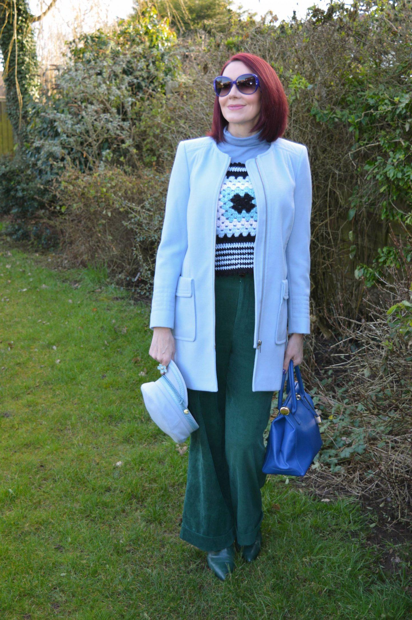 Coast green Cords , handmade crochet Vest