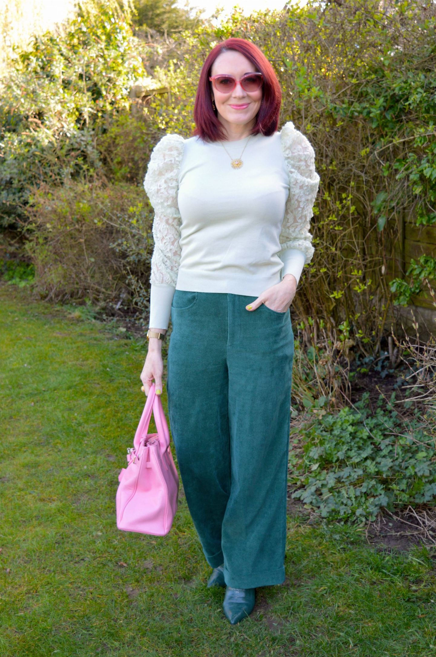 Green and Pastel Pink, Coast forest cord trousers, mint green sheer sleeve top, Asos dark green boots, J by Jasper Conran pink tote bag
