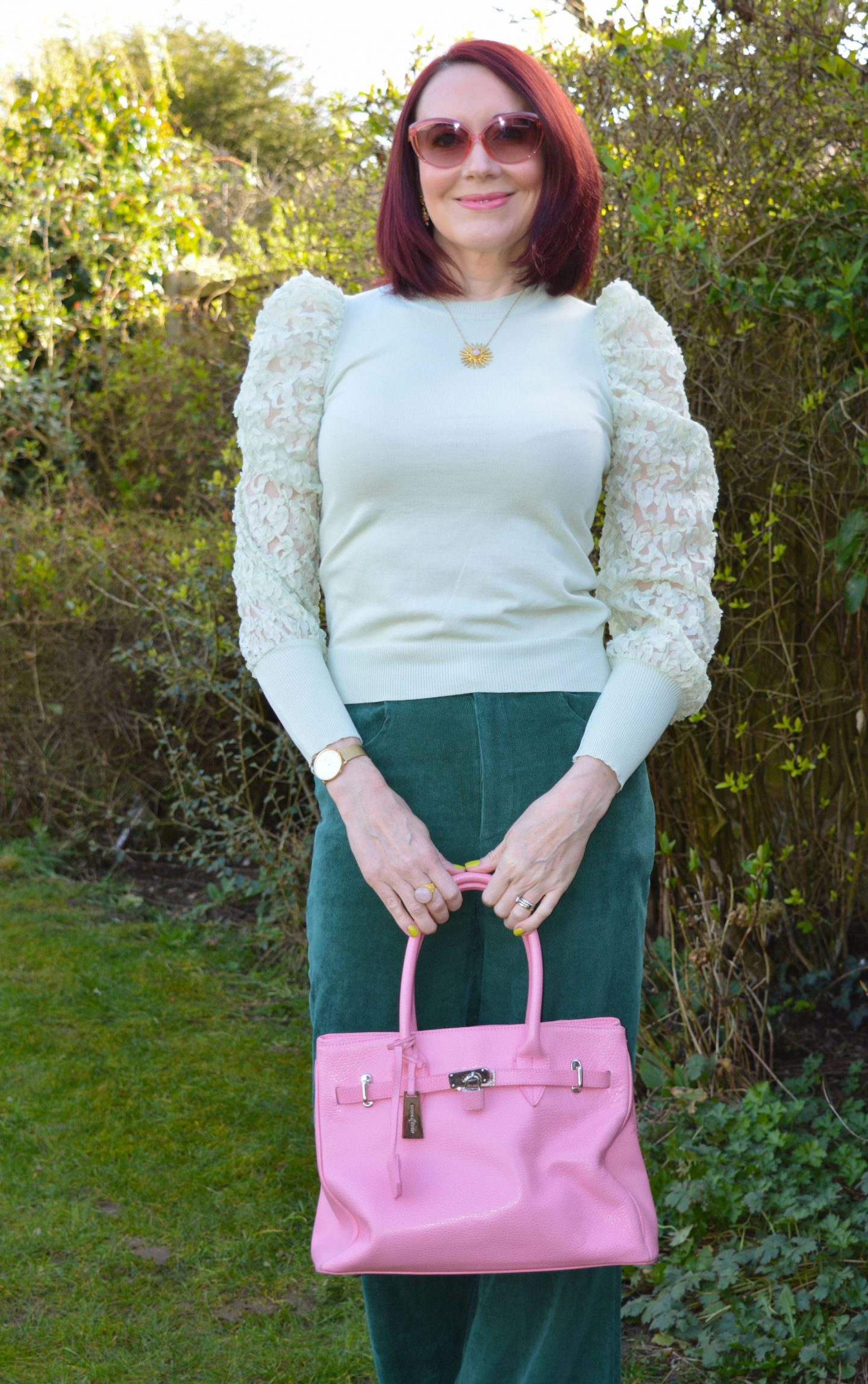Coast forest cord trousers, mint green sheer sleeve top, Asos dark green boots, J by Jasper Conran pink tote bag