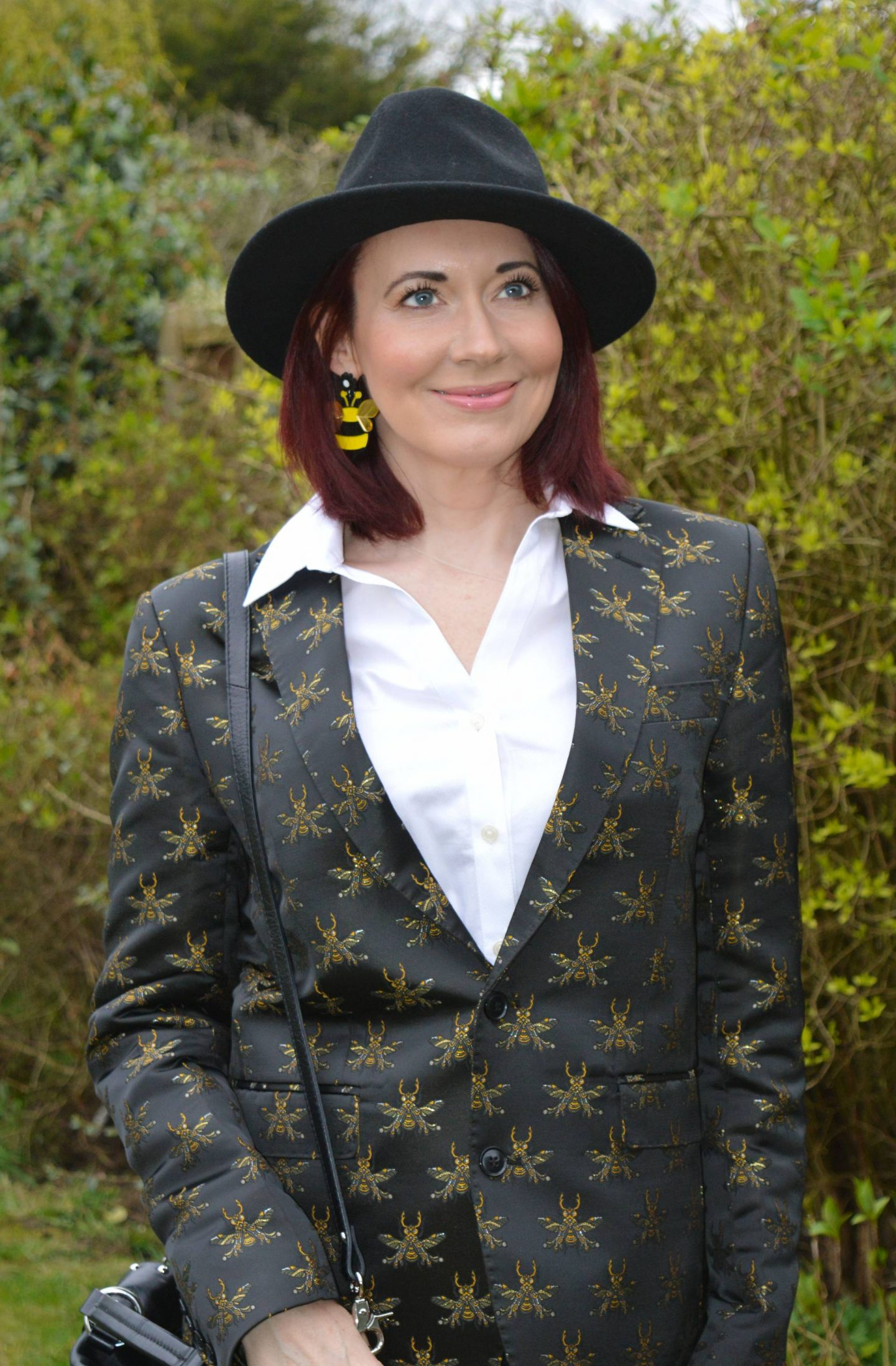 Borrowed From the Boys - March Style Not Age, Devil's Advocate bee embroidered blazer, acrylic bee earring
