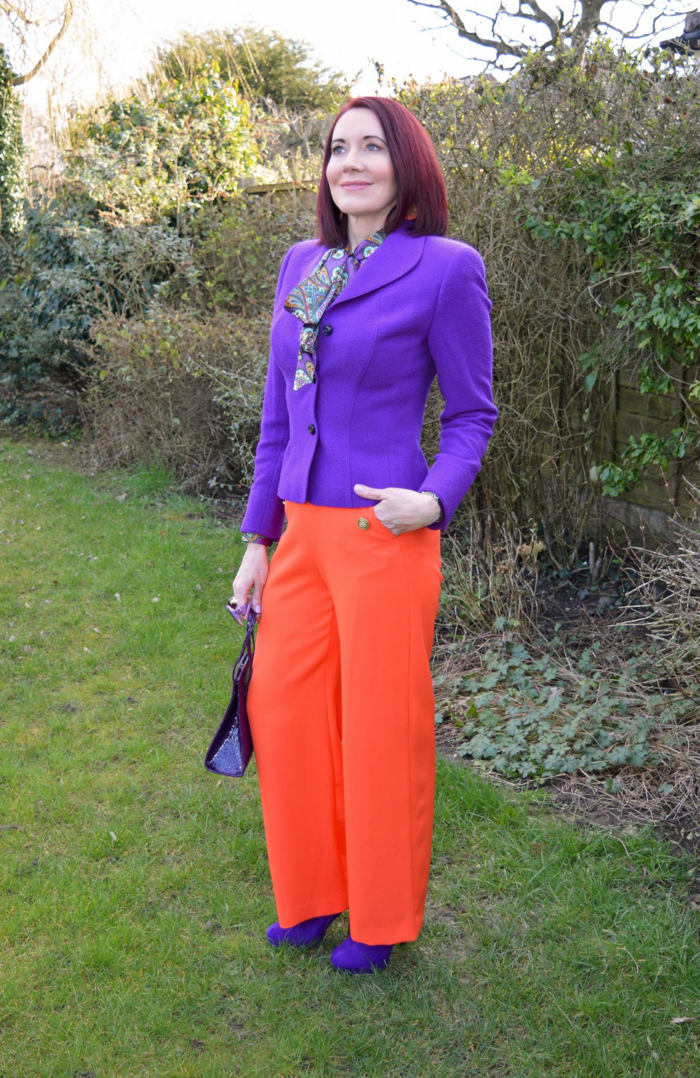 """We Are Trail """"Blazers"""" - March Thrifty Six Collaboration, purple Escada jacket, River Island orange trousers"""