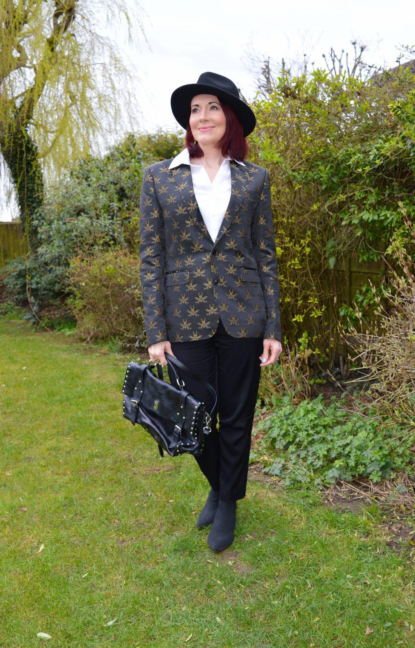 Borrowed From the Boys - March Style Not Age, Devil's Advocate bee embroidered blazer, Tibi tuxedo trousers, Zara black fedora, Modalu black studded satchel