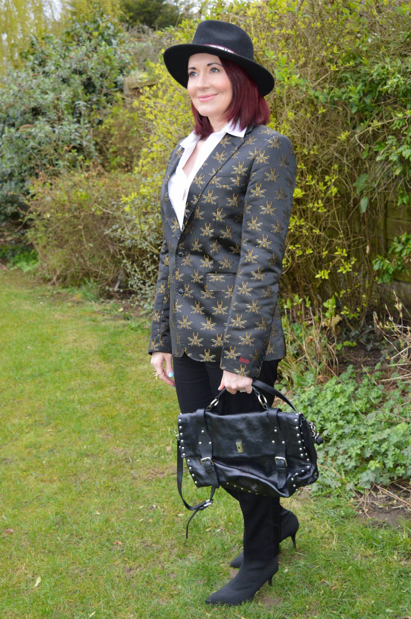 Borrowed From the Boy, Devil's Advocate bee embroidered blazer, Tibi tuxedo trousers, Zara black fedora, Modalu black studded satchel