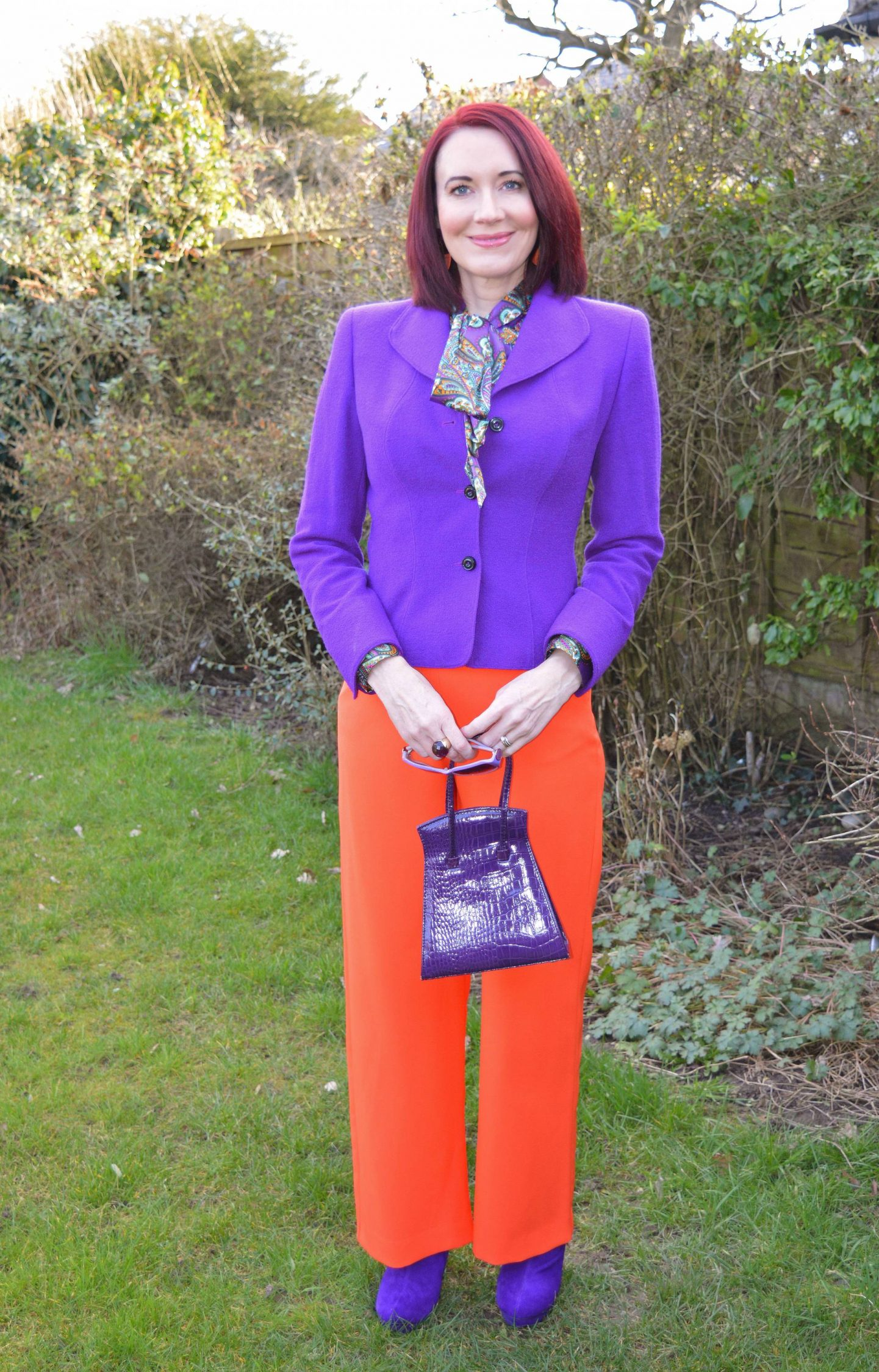 """We Are Trail """"Blazers"""" - March Thrifty Six Collaboration purple Escada jacket, River Island orange trousers"""