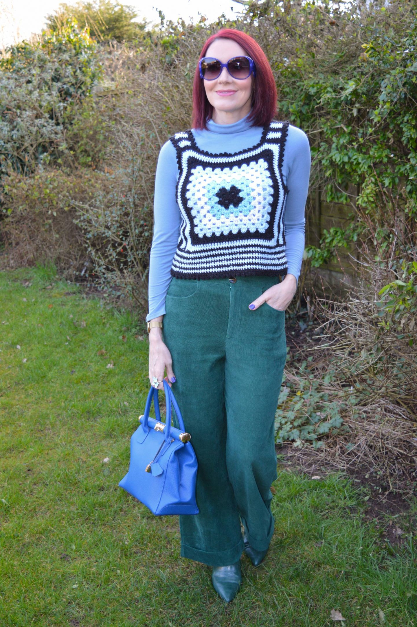 Coast green Cords and Crocheted Vest