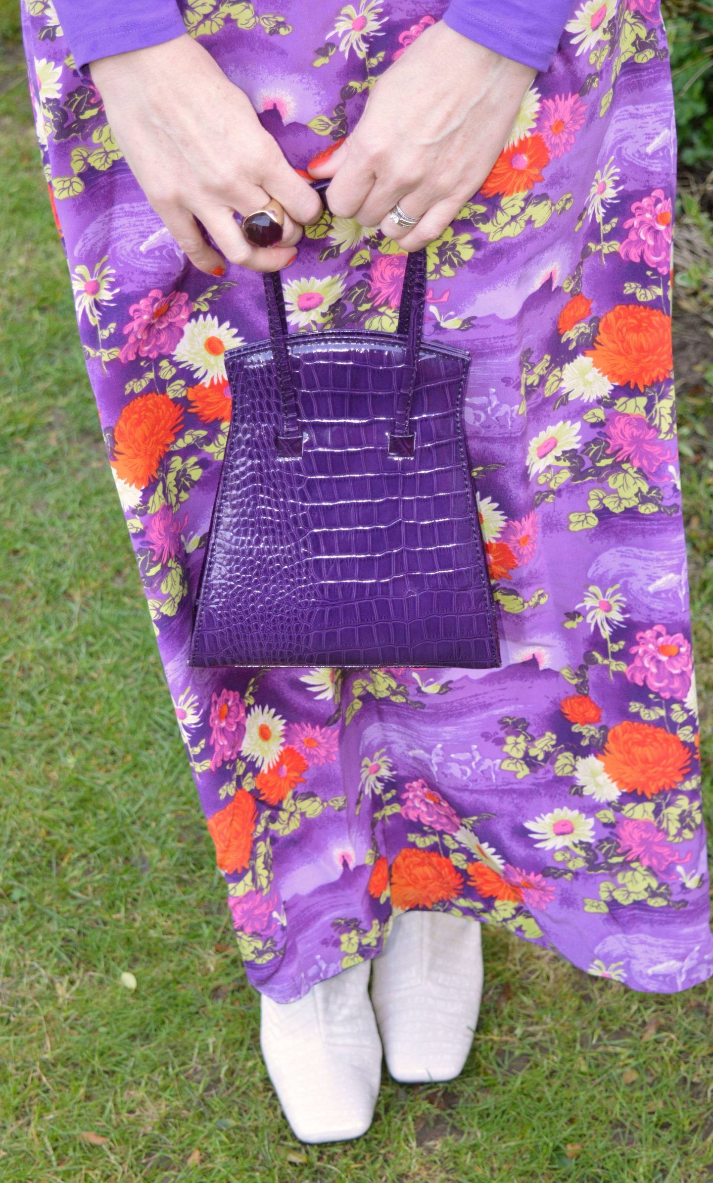 purple mock croc bag