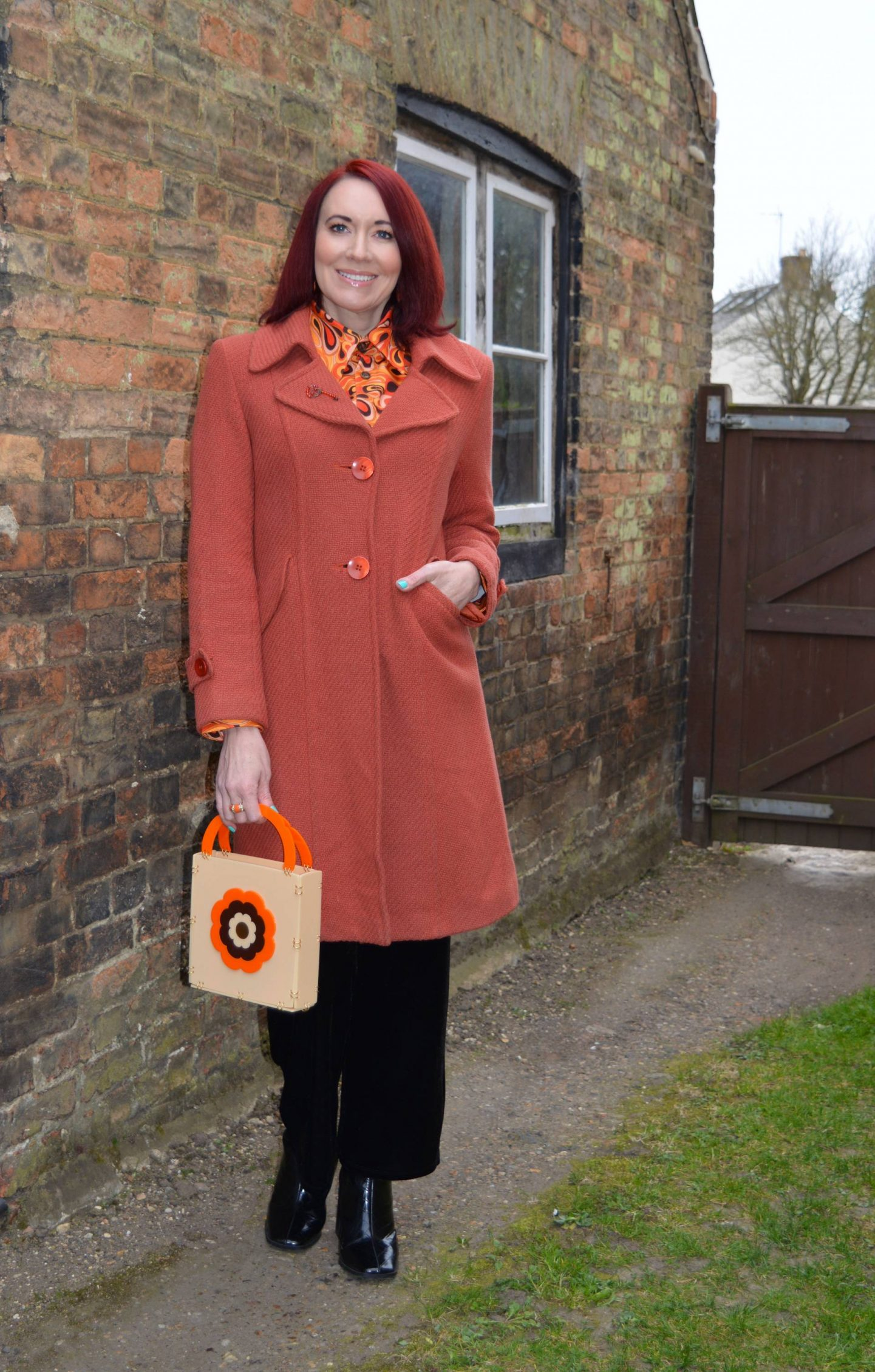Wearing Our Everyday Luxe, The Hippie Shake shirt, Wallis orange coat, Ada Binks bag, Very black velvet trousers, Marks & Spencer black square toe ankle boots