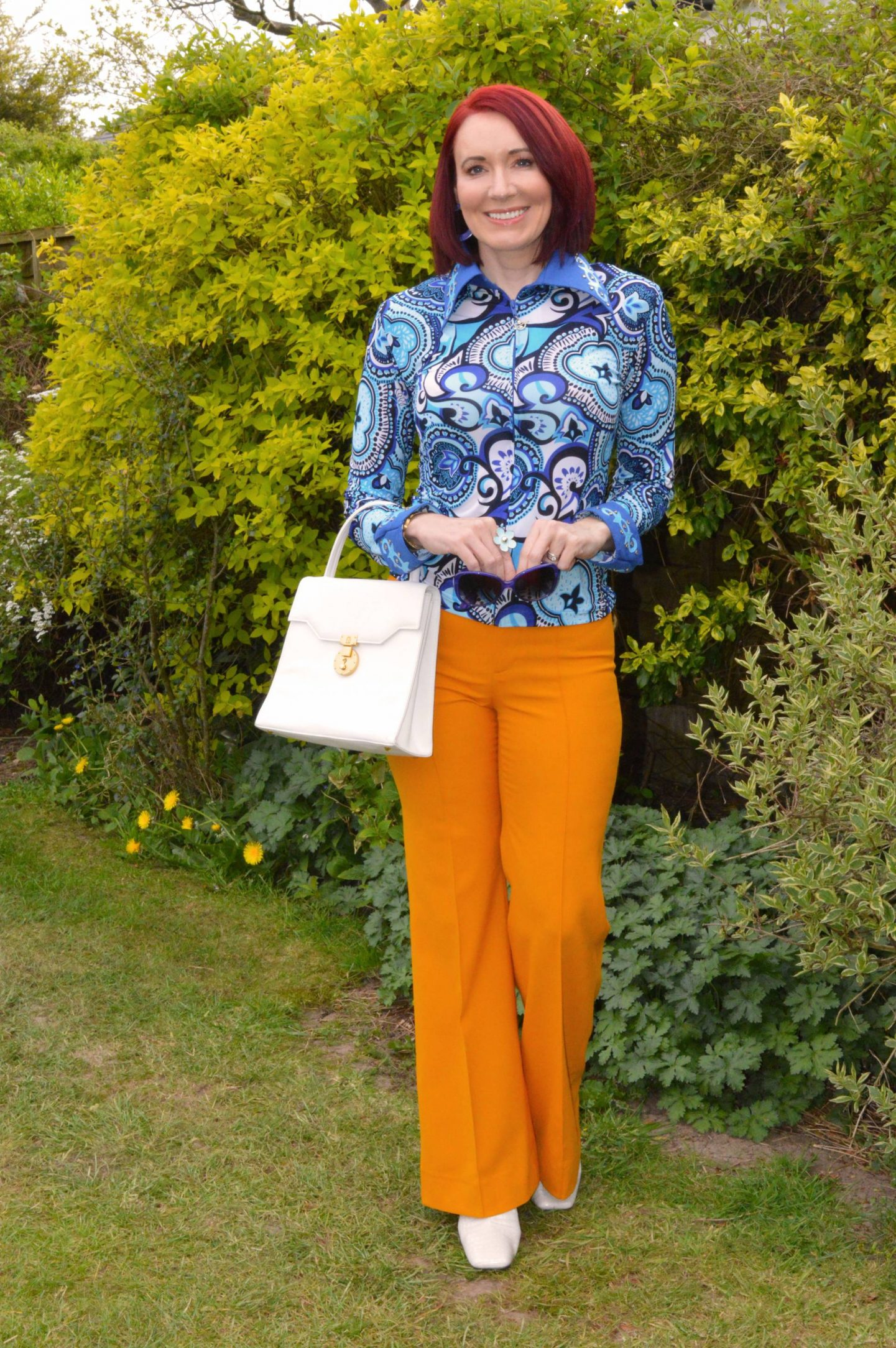 Blue Psychedelic Vintage Shirt and Zara Marigold Trousers