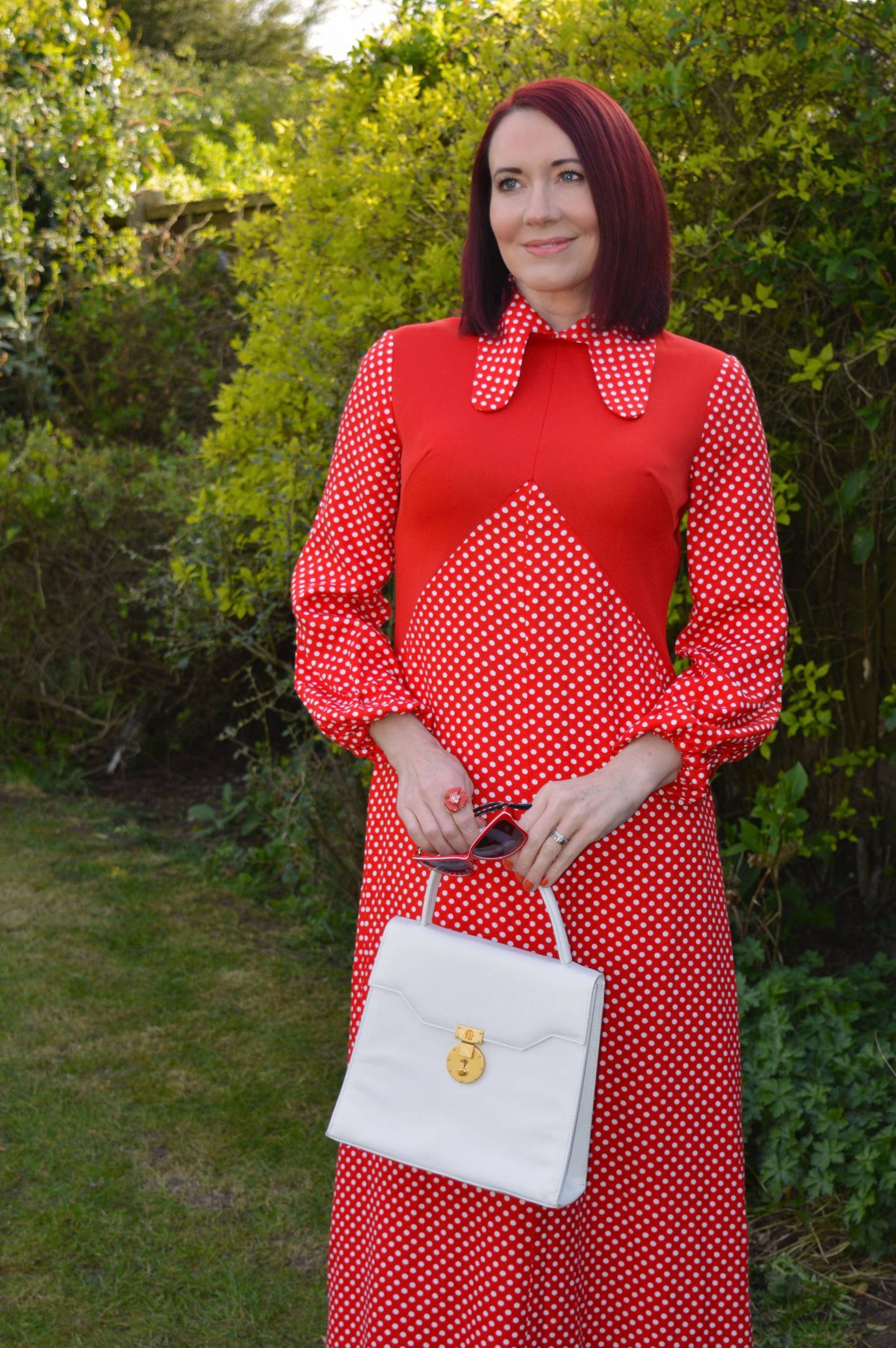 Step Back in Time, red polka dot vintage maxi dress, white top handle bag