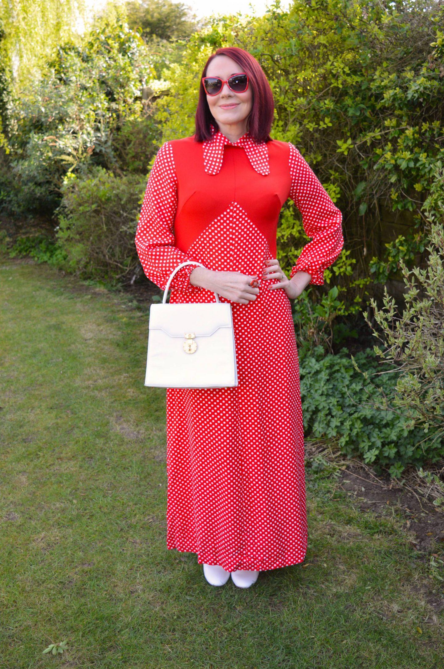 Step Back in Time, red polka dot vintage maxi dress, white top handle bag