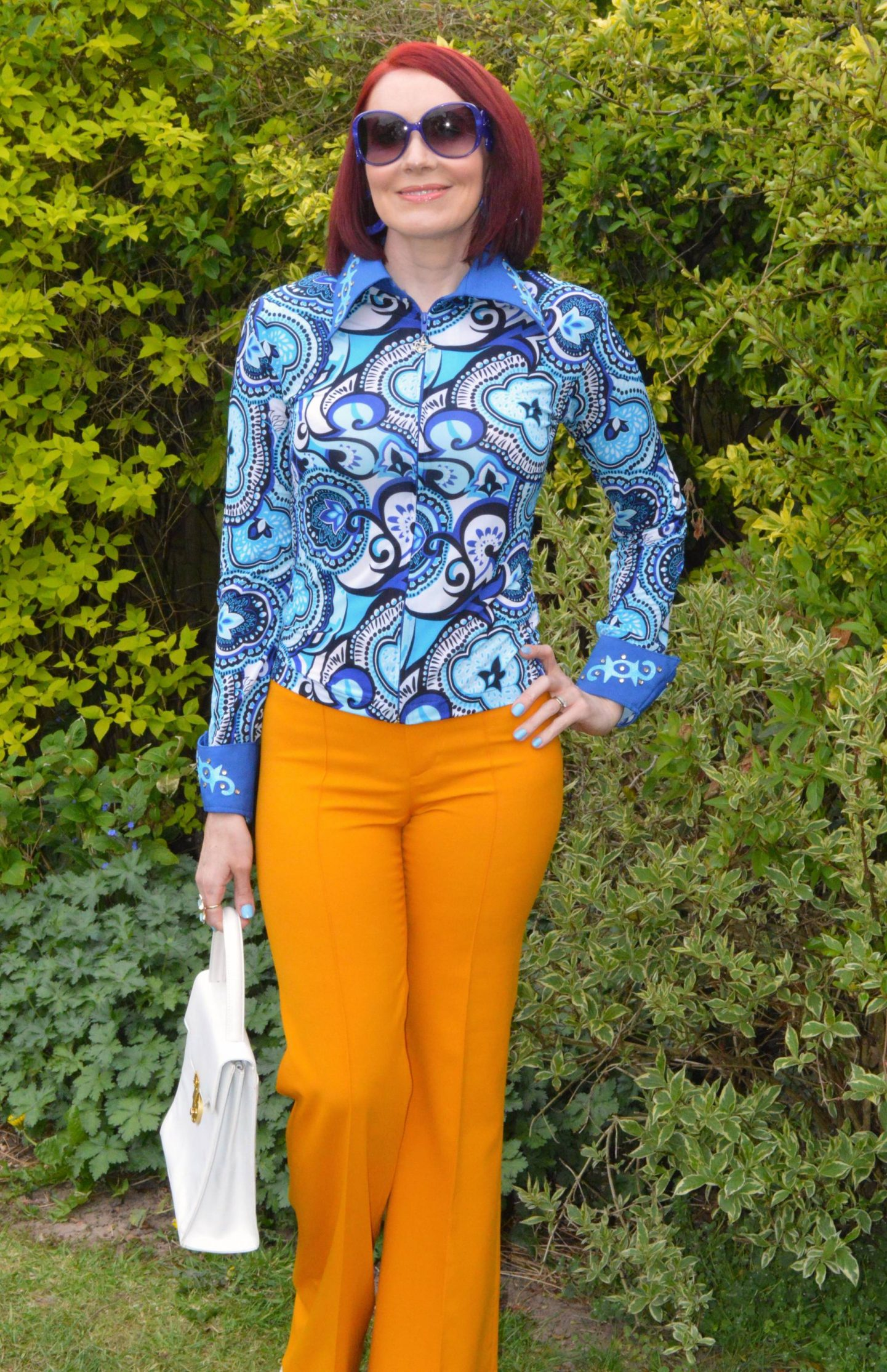 vintage zip up blue print shirt and Zara Marigold Trousers