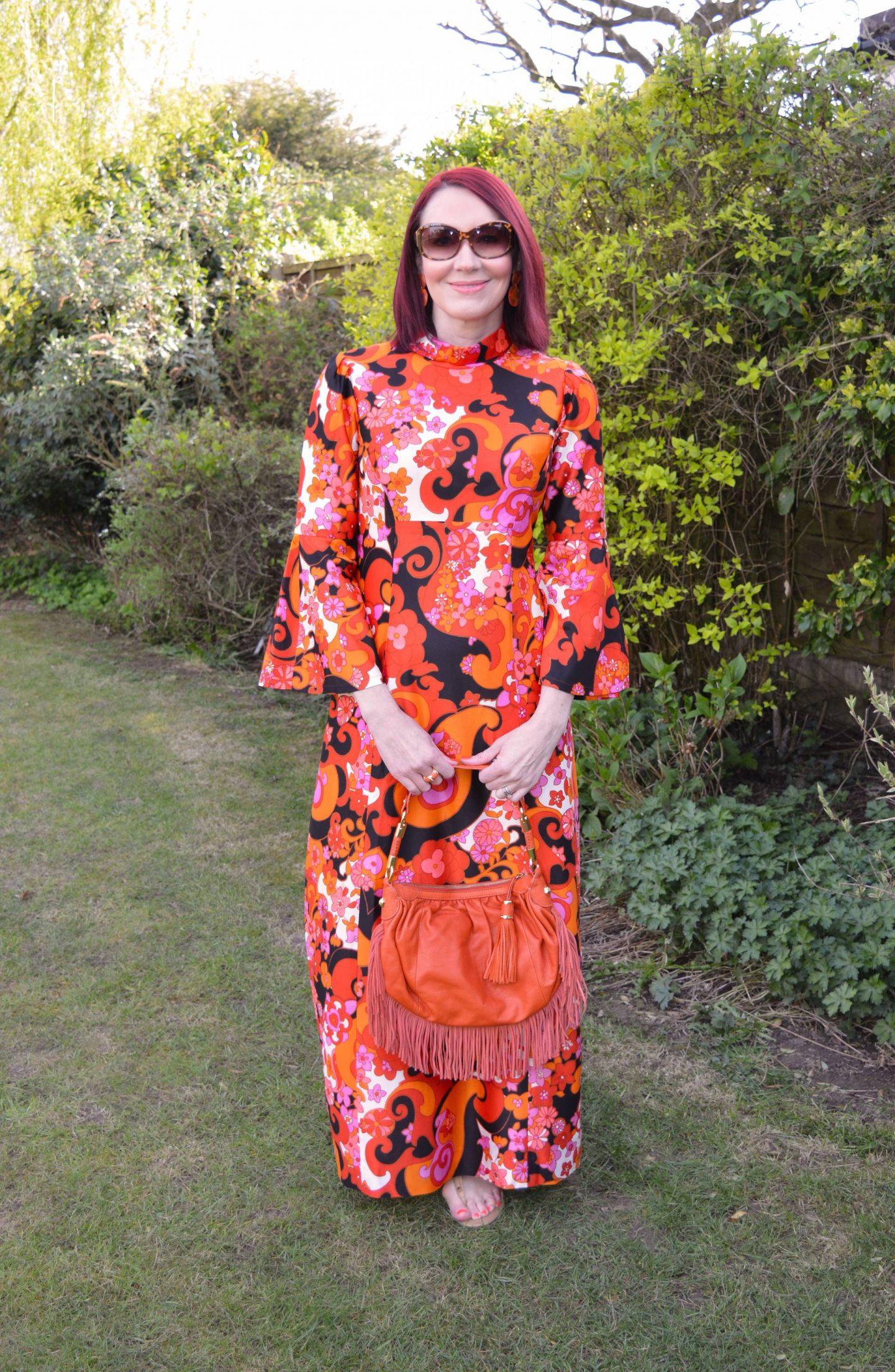 orange and pink vintage dress