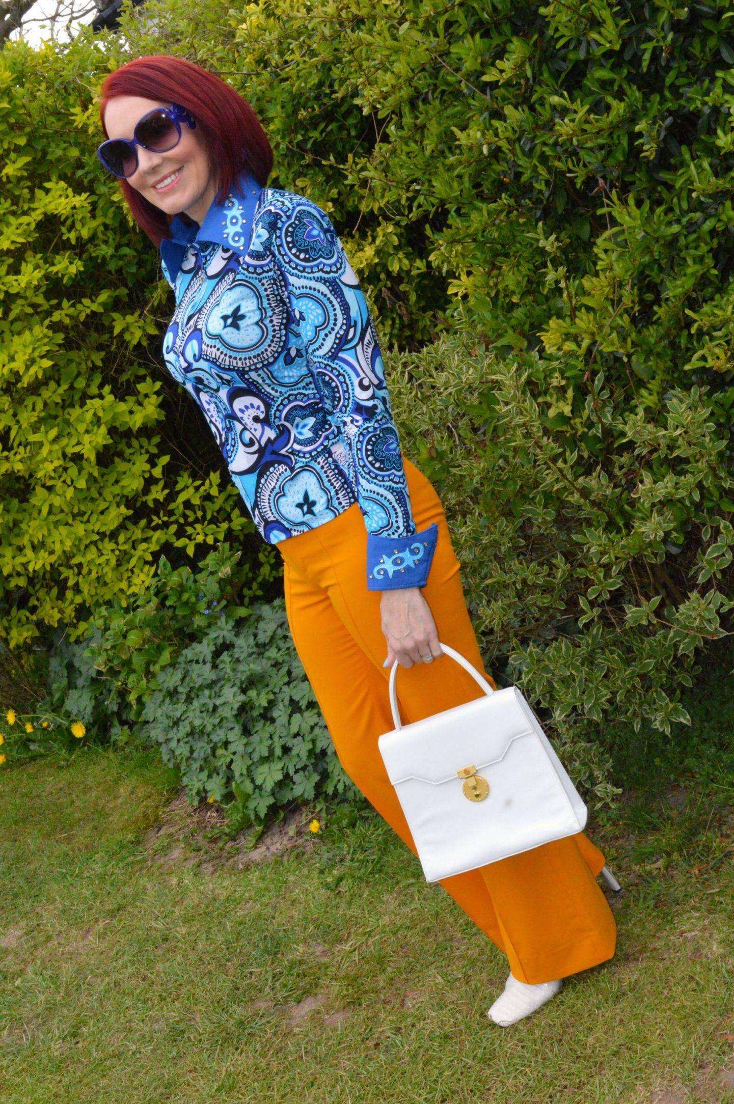 Blue Print Vintage Shirt and Zara Marigold Trousers
