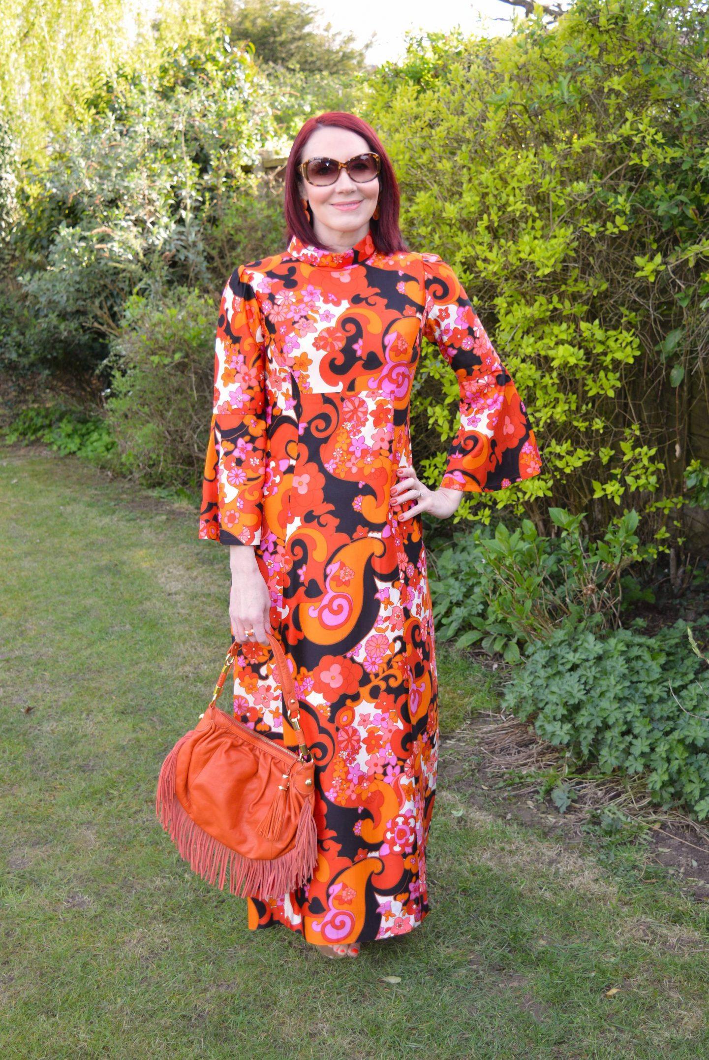 orange and pink vintage dress, Modalu orange fringed bag