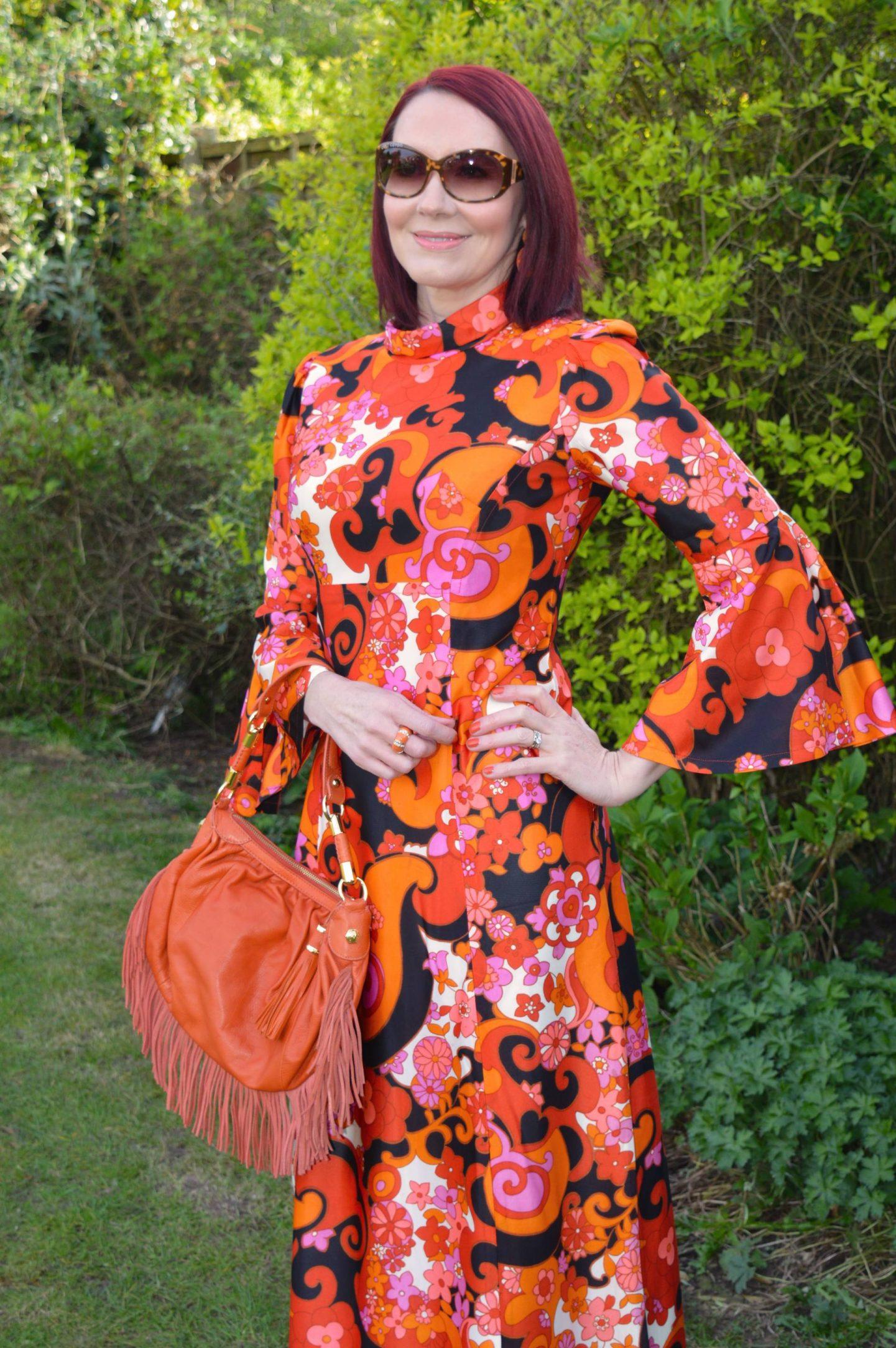 Modalu orange fringed bag