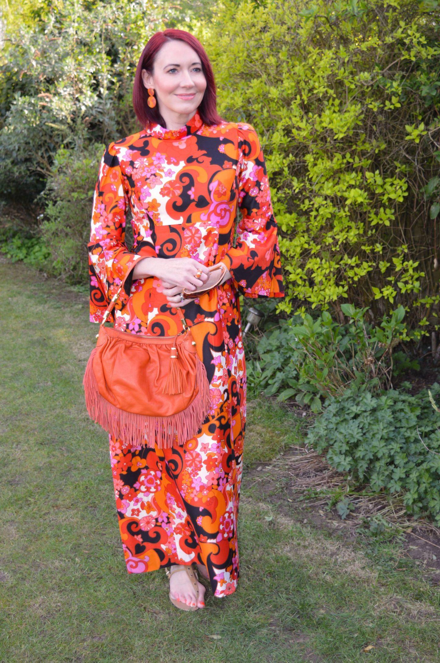 Orange Print Vintage Maxi Dress, Modalu orange fringed bag
