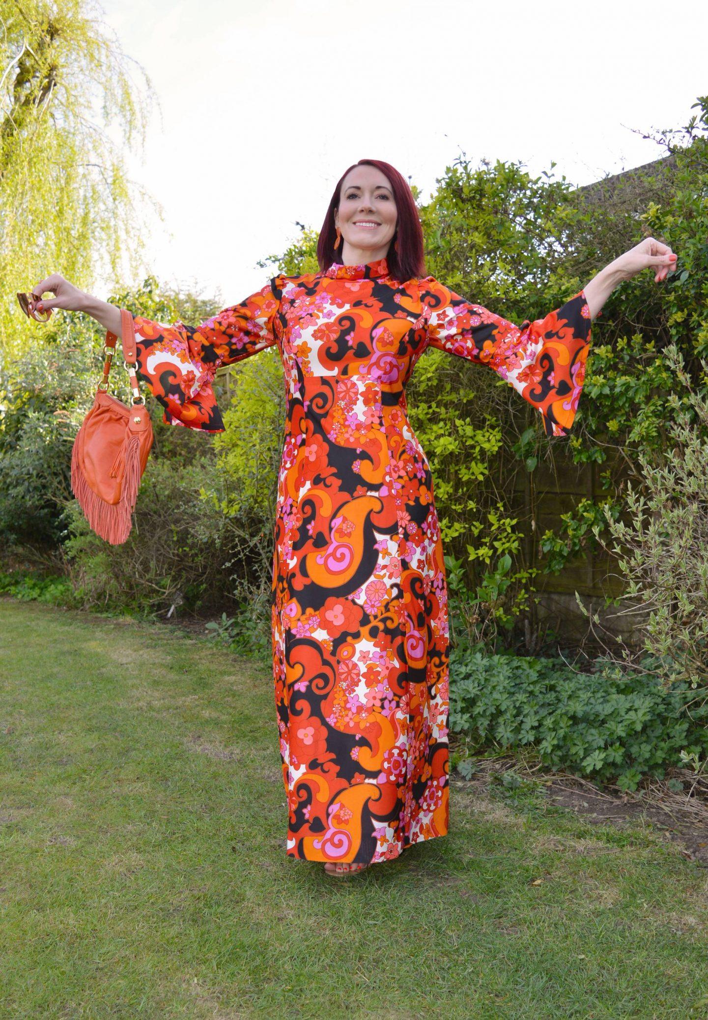 Vintage flared sleeve dress, Modalu orange fringed bag