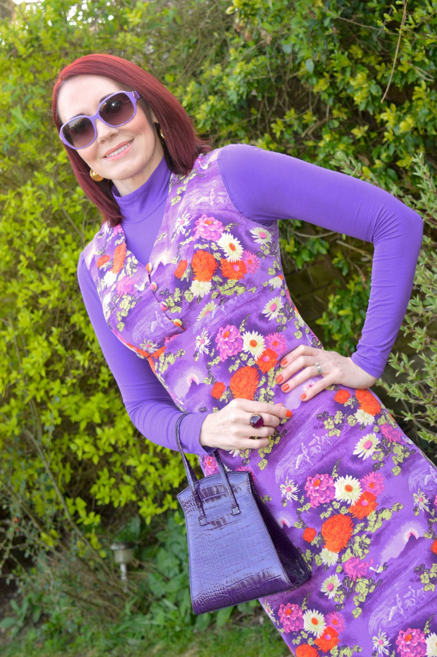 Vintage Purple Floral Print Dress, purple roll neck top