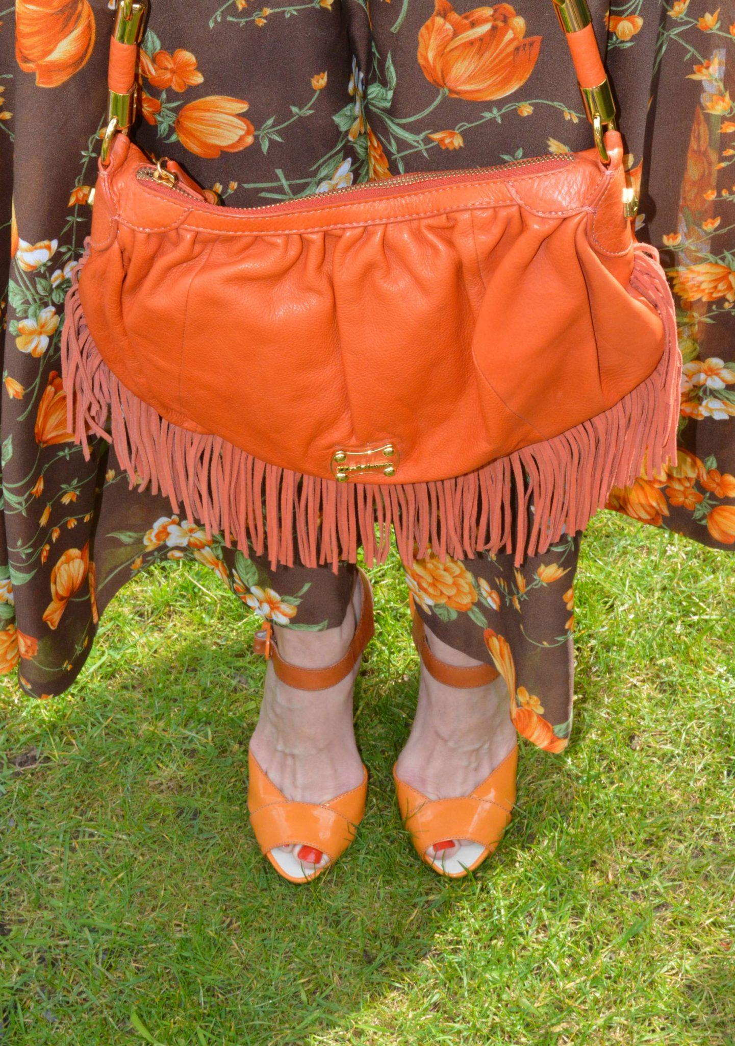 Modalu orange fringed bag, Miss Sixty orange sandals