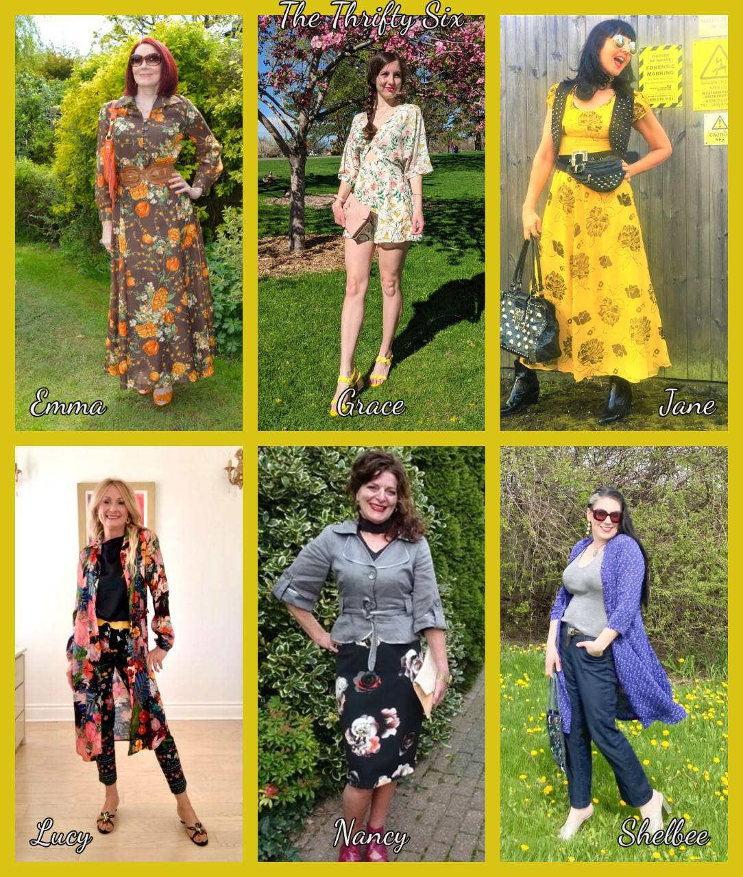 Wearing Pre-loved Floral Prints - May's Thrifty Six collage