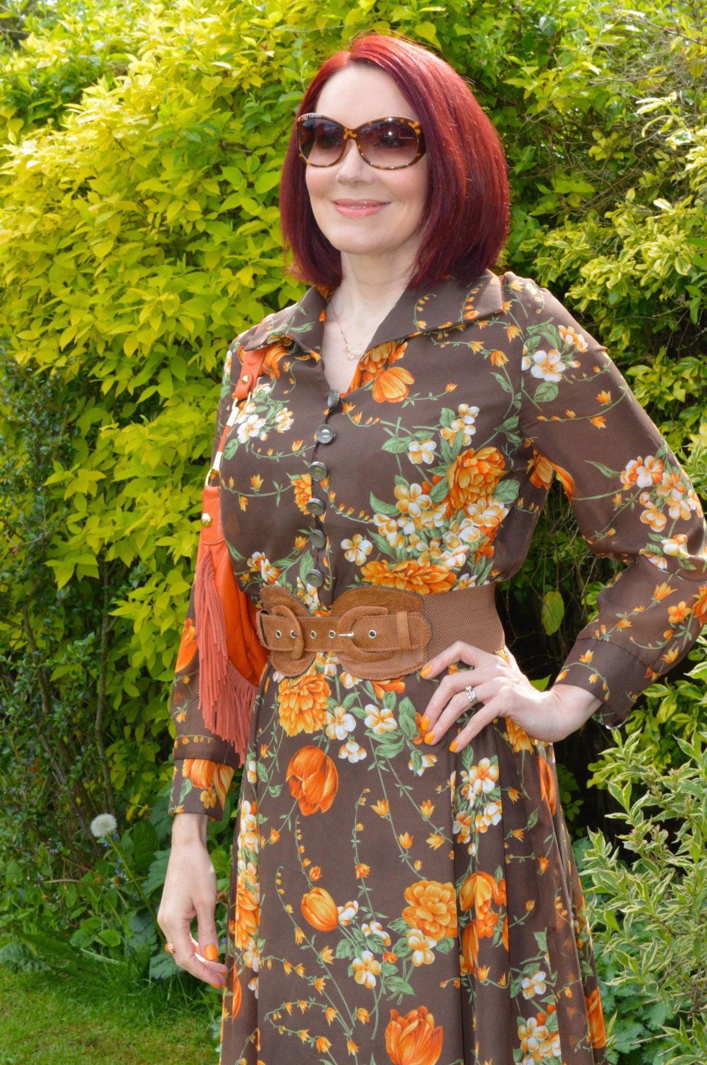 Wearing Pre-loved Floral Prints - May's Thrifty Six, vintage brown and orange floral print maxi dress, Modalu orange fringed bag