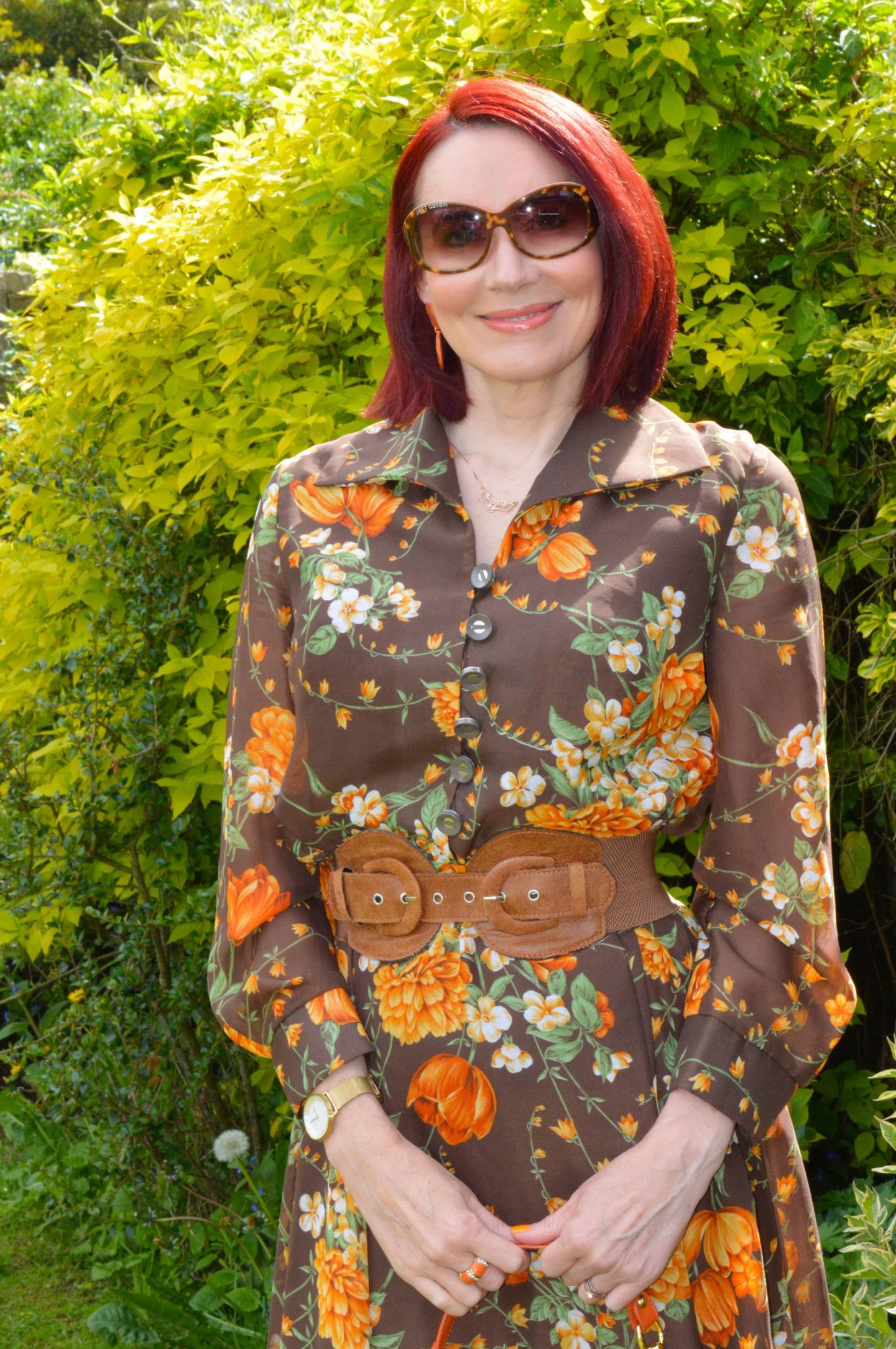 Wearing Pre-loved Floral Prints - May's Thrifty Six, vintage brown and orange floral print maxi dress